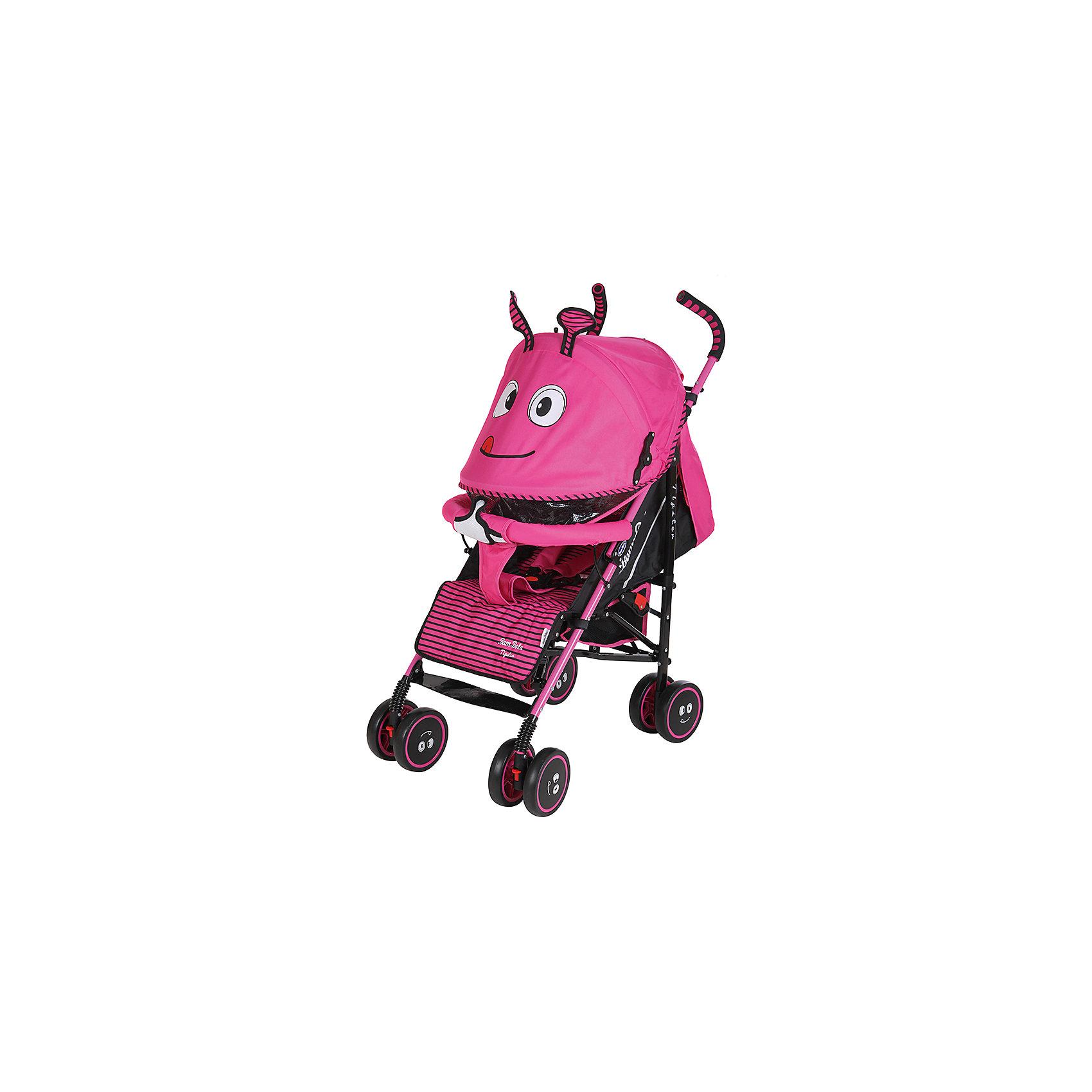 Коляска-трость Bambola Жужа, розовыйНедорогие коляски<br>Характеристики коляски-трости Bambola Жужа<br><br>Прогулочный блок:<br><br>• спинка регулируется в нескольких положениях, угол наклона 170 градусов;<br>• регулируется подножка, 2 положения;<br>• страховочный бампер отводится в стороны, имеется мягкий разделитель для ножек;<br>• дополнительная секция на капюшоне, смотровое окошко, москитная сетка;<br>• капюшон оснащен солнцезащитным козырьком, материал клеенка;<br>• капюшон опускается до бампера;<br>• 5-ти точечные ремни безопасности;<br>• держатель для бутылочки входит в комплект.<br><br>Шасси коляски:<br><br>• сдвоенные колеса: передние поворотные, задние с тормозом;<br>• съемные колеса;<br>• диаметр колес: 15,5 см;<br>• дополнительная пластиковая гибкая подножка для подросшего малыша;<br>• амортизация;<br>• механизм складывания: трость;<br>• материал: алюминий, пластик, полиэстер.<br><br>Размер коляски: 80х50х104 см<br>Размер коляски в сложенном виде: 33х26х102 см<br>Вес коляски: 7 кг<br>Вес упаковки: 7,76 кг<br><br>Коляску-трость Жужа, Bambola, розовый цвет можно купить в нашем интернет-магазине.<br><br>Ширина мм: 320<br>Глубина мм: 260<br>Высота мм: 1020<br>Вес г: 7760<br>Возраст от месяцев: 6<br>Возраст до месяцев: 36<br>Пол: Женский<br>Возраст: Детский<br>SKU: 5559172