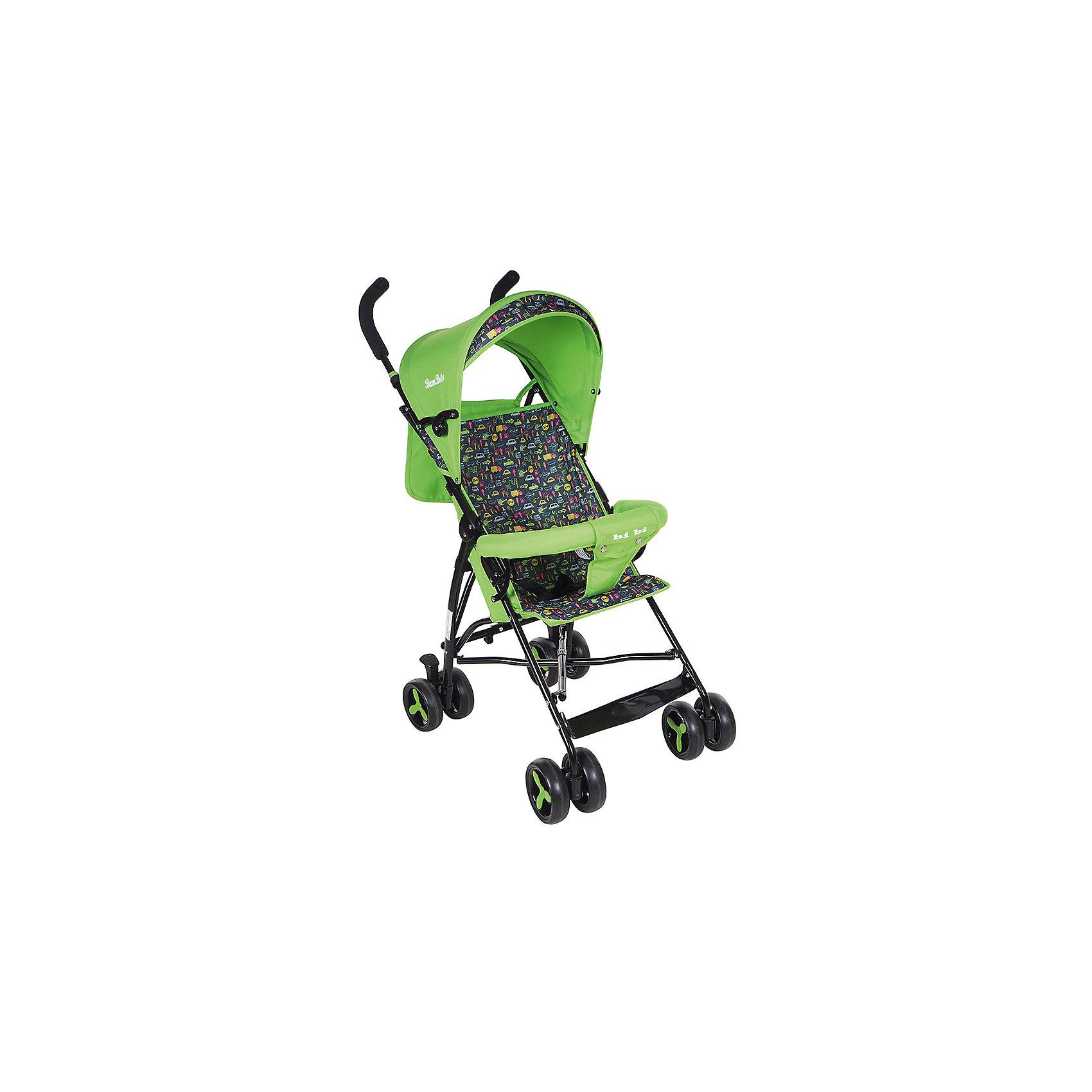 Коляска-трость Bambola BI-BI, зеленыйНедорогие коляски<br>Характеристики коляски-трости Bambola BI-BI<br><br>Прогулочный блок:<br><br>• спинка коляски находится в фиксированном положении: сидя;<br>• подножка находится в фиксированном положении;<br>• страховочный бампер фиксирован;<br>• имеется капюшон с солнцезащитным козырьком;<br>• 3-х точечные ремни безопасности.<br><br>Шасси коляски:<br><br>• сдвоенные колеса, ножной тормоз;<br>• диаметр колес: 15,5 см;<br>• дополнительная пластиковая гибкая подножка для подросшего малыша;<br>• механизм складывания: трость;<br>• материал: алюминий, пластик, полиэстер.<br><br>Размер коляски: 80х48х110 см<br>Размер коляски в сложенном виде: 30х40х104 см<br>Вес коляски: 5 кг<br>Вес упаковки: 5,13 кг<br><br>Коляску-трость BI-BI, Bambola, цвет зеленый можно купить в нашем интернет-магазине.<br><br>Ширина мм: 300<br>Глубина мм: 400<br>Высота мм: 1040<br>Вес г: 5130<br>Возраст от месяцев: 8<br>Возраст до месяцев: 36<br>Пол: Унисекс<br>Возраст: Детский<br>SKU: 5559174