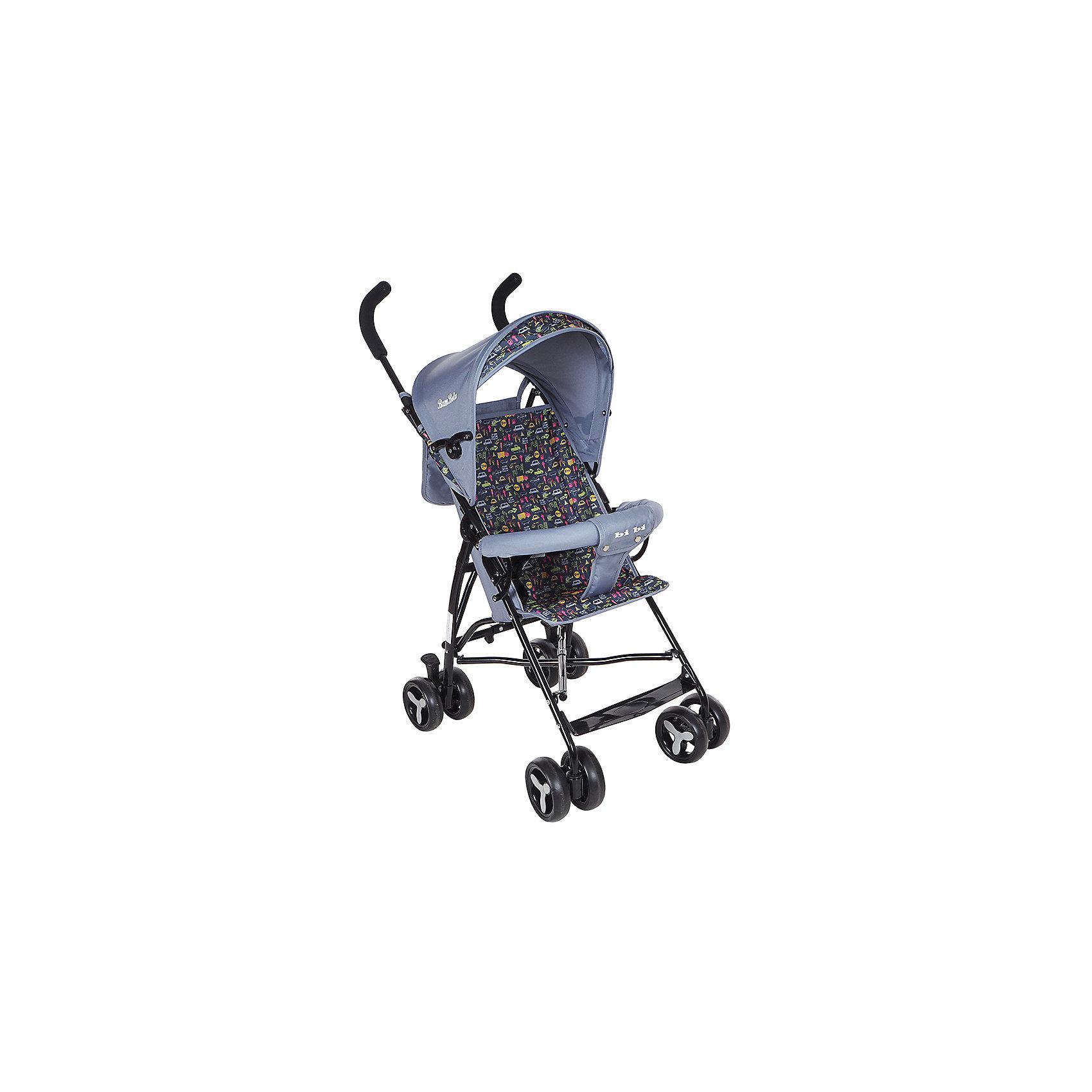 Коляска-трость Bambola BI-BI, темно-серыйНедорогие коляски<br>Характеристики коляски-трости Bambola BI-BI<br><br>Прогулочный блок:<br><br>• спинка коляски находится в фиксированном положении: сидя;<br>• подножка находится в фиксированном положении;<br>• страховочный бампер фиксирован;<br>• имеется капюшон с солнцезащитным козырьком;<br>• 3-х точечные ремни безопасности.<br><br>Шасси коляски:<br><br>• сдвоенные колеса, ножной тормоз;<br>• диаметр колес: 15,5 см;<br>• дополнительная пластиковая гибкая подножка для подросшего малыша;<br>• механизм складывания: трость;<br>• материал: алюминий, пластик, полиэстер.<br><br>Размер коляски: 80х48х110 см<br>Размер коляски в сложенном виде: 30х40х104 см<br>Вес коляски: 5 кг<br>Вес упаковки: 5,13 кг<br><br>Коляску-трость BI-BI, Bambola, цвет темно-серый можно купить в нашем интернет-магазине.<br><br>Ширина мм: 300<br>Глубина мм: 400<br>Высота мм: 1040<br>Вес г: 5130<br>Возраст от месяцев: 8<br>Возраст до месяцев: 36<br>Пол: Унисекс<br>Возраст: Детский<br>SKU: 5559176