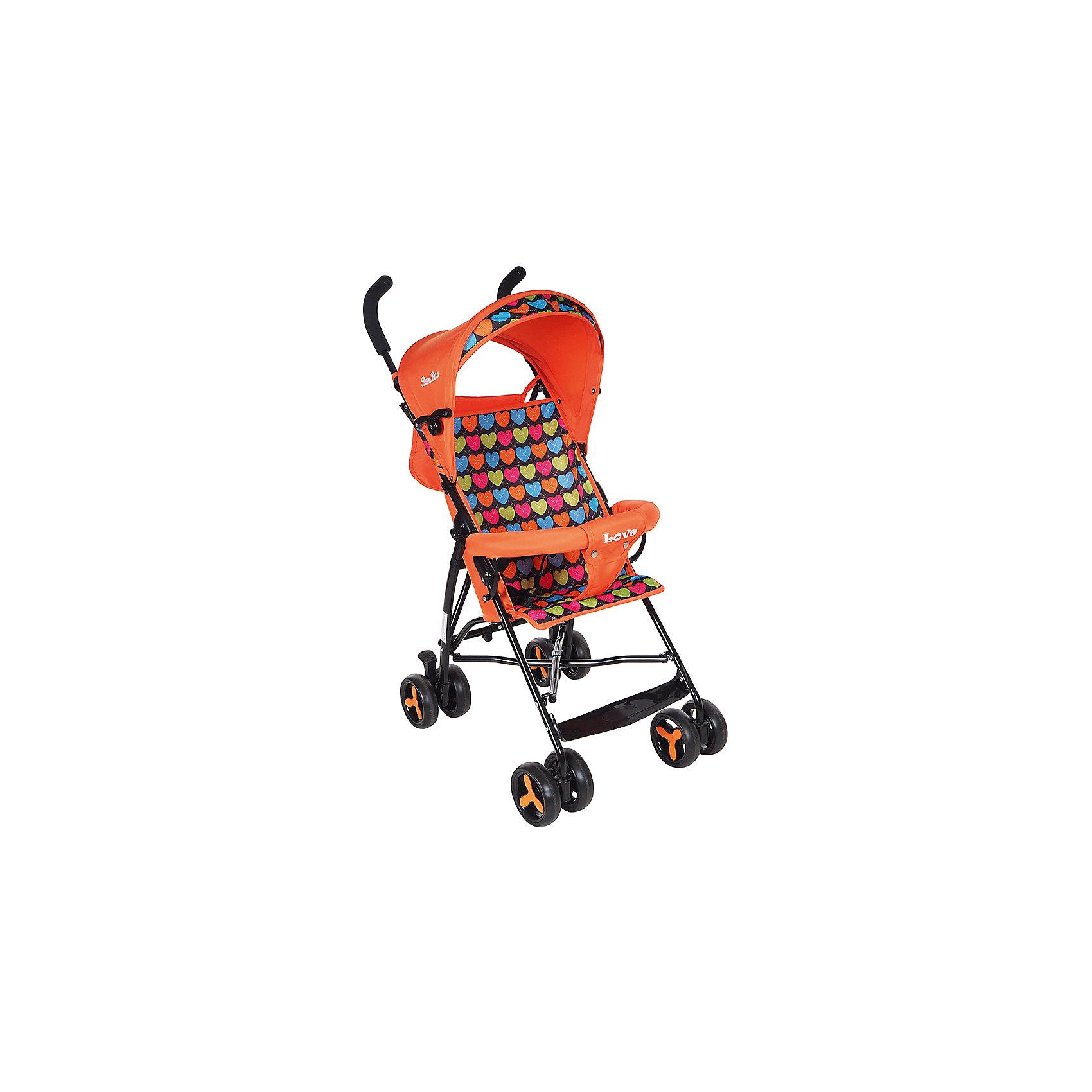 Коляска-трость Bambola Love, оранжевыйНедорогие коляски<br>Характеристики коляски-трости Bambola Love<br><br>Прогулочный блок:<br><br>• спинка коляски находится в фиксированном положении: сидя;<br>• подножка находится в фиксированном положении;<br>• страховочный бампер фиксирован;<br>• имеется капюшон с солнцезащитным козырьком;<br>• 3-х точечные ремни безопасности.<br><br>Шасси коляски:<br><br>• сдвоенные колеса, ножной тормоз;<br>• диаметр колес: 15,5 см;<br>• дополнительная пластиковая гибкая подножка для подросшего малыша;<br>• механизм складывания: трость;<br>• материал: алюминий, пластик, полиэстер.<br><br>Размер коляски: 80х48х110 см<br>Размер коляски в сложенном виде: 30х40х104 см<br>Вес коляски: 5 кг<br>Вес упаковки: 5,13 кг<br><br>Коляску-трость Love, Bambola, цвет оранжевый можно купить в нашем интернет-магазине.<br><br>Ширина мм: 300<br>Глубина мм: 400<br>Высота мм: 1040<br>Вес г: 5130<br>Возраст от месяцев: 8<br>Возраст до месяцев: 36<br>Пол: Унисекс<br>Возраст: Детский<br>SKU: 5559179