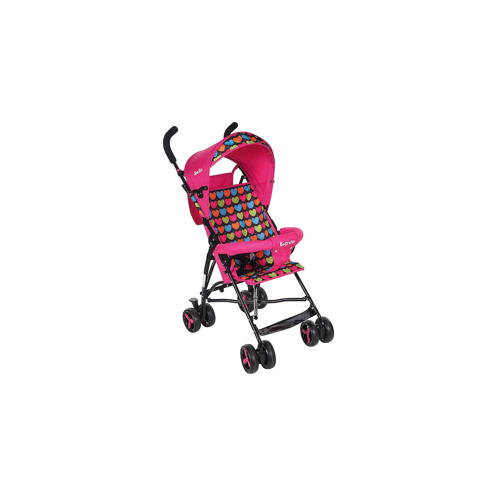 Коляска-трость Bambola Love, розовыйКоляски-трости<br>Характеристики коляски-трости Bambola Love<br><br>Прогулочный блок:<br><br>• спинка коляски находится в фиксированном положении: сидя;<br>• подножка находится в фиксированном положении;<br>• страховочный бампер фиксирован;<br>• имеется капюшон с солнцезащитным козырьком;<br>• 3-х точечные ремни безопасности.<br><br>Шасси коляски:<br><br>• сдвоенные колеса, ножной тормоз;<br>• диаметр колес: 15,5 см;<br>• дополнительная пластиковая гибкая подножка для подросшего малыша;<br>• механизм складывания: трость;<br>• материал: алюминий, пластик, полиэстер.<br><br>Размер коляски: 80х48х110 см<br>Размер коляски в сложенном виде: 30х40х104 см<br>Вес коляски: 5 кг<br>Вес упаковки: 5,13 кг<br><br>Коляску-трость Love, Bambola, цвет розовый можно купить в нашем интернет-магазине.<br><br>Ширина мм: 300<br>Глубина мм: 400<br>Высота мм: 1040<br>Вес г: 5130<br>Возраст от месяцев: 8<br>Возраст до месяцев: 36<br>Пол: Женский<br>Возраст: Детский<br>SKU: 5559180