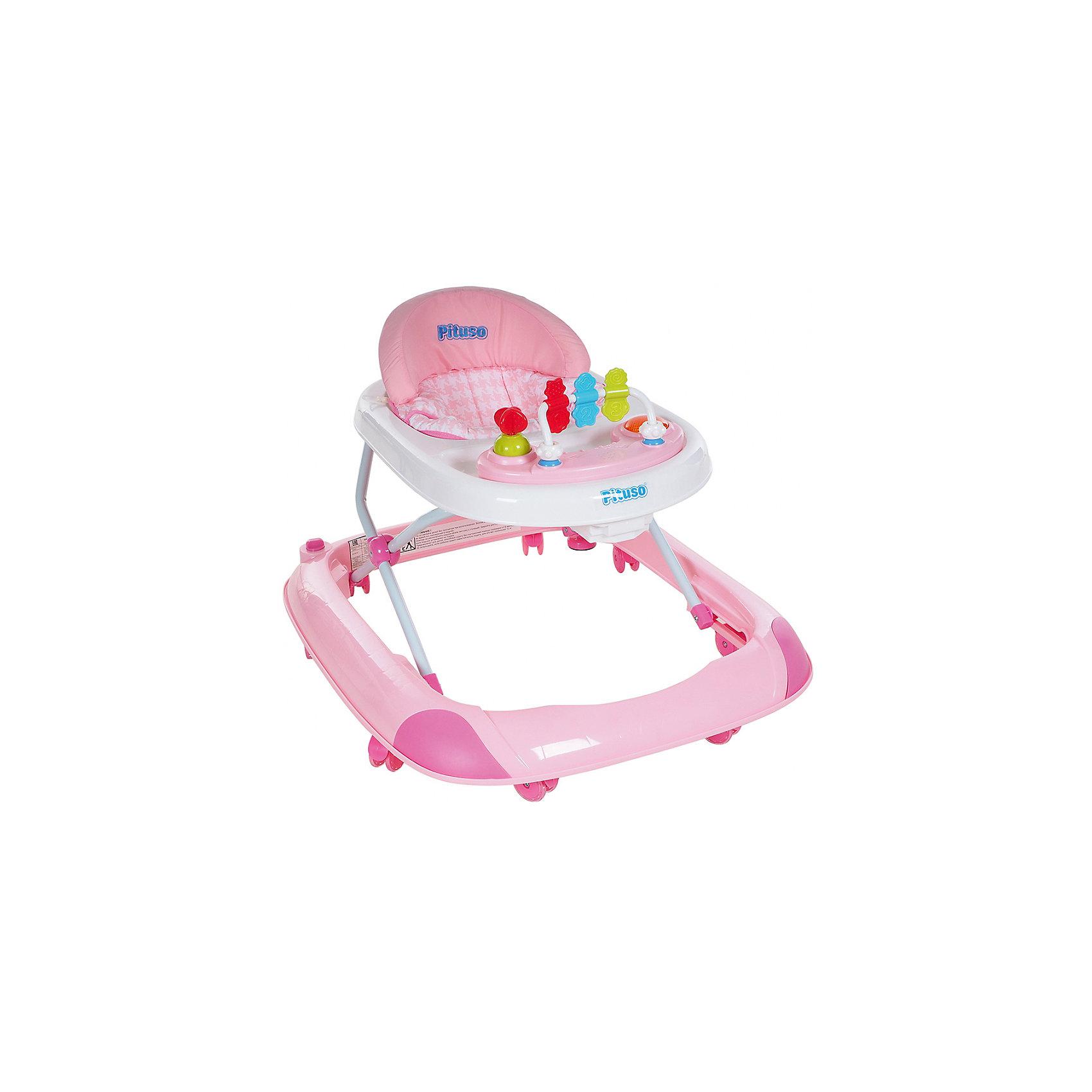 Ходунки 1-2-3, Pituso, розовыйХодунки<br>Характеристики ходунков Pituso:<br><br>• высота ходунков регулируется в 3-х положениях;<br>• музыкальное сопровождение;<br>• развивающие игрушки;<br>• устойчивая конструкция ходунков;<br>• мягкое сиденье эргономичной формы;<br>• передние поворотные колесики, материал силикон;<br>• задние колеса со сцеплением;<br>• материал ходунков: пластик, чехлы – полиэстер.<br><br>Размер ходунков в сложенном виде: 62,5х11,5х72 см<br>Вес: 3,37 кг<br>Максимальная нагрузка: 13 кг<br><br>Ходунки 1-2-3, Pituso, розовые можно купить в нашем интернет-магазине.<br><br>Ширина мм: 625<br>Глубина мм: 115<br>Высота мм: 720<br>Вес г: 3370<br>Возраст от месяцев: 6<br>Возраст до месяцев: 12<br>Пол: Женский<br>Возраст: Детский<br>SKU: 5559194