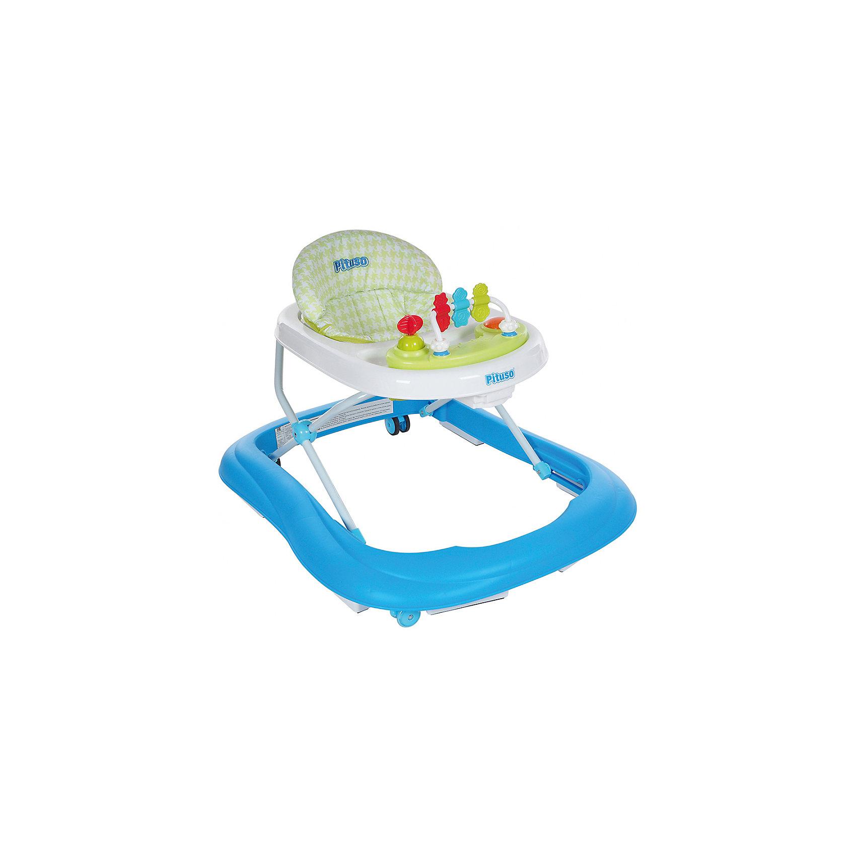 Ходунки 1-2-3, Pituso, голубойХодунки<br>Характеристики ходунков Pituso:<br><br>• высота ходунков регулируется в 3-х положениях;<br>• музыкальное сопровождение;<br>• развивающие игрушки;<br>• устойчивая конструкция ходунков;<br>• мягкое сиденье эргономичной формы;<br>• передние поворотные колесики, материал силикон;<br>• задние колеса со сцеплением;<br>• материал ходунков: пластик, чехлы – полиэстер.<br><br>Размер ходунков в сложенном виде: 62,5х11,5х72 см<br>Вес: 3,37 кг<br>Максимальная нагрузка: 13 кг<br><br>Ходунки 1-2-3, Pituso, голубые можно купить в нашем интернет-магазине.<br><br>Ширина мм: 625<br>Глубина мм: 115<br>Высота мм: 720<br>Вес г: 4440<br>Возраст от месяцев: 6<br>Возраст до месяцев: 12<br>Пол: Унисекс<br>Возраст: Детский<br>SKU: 5559195