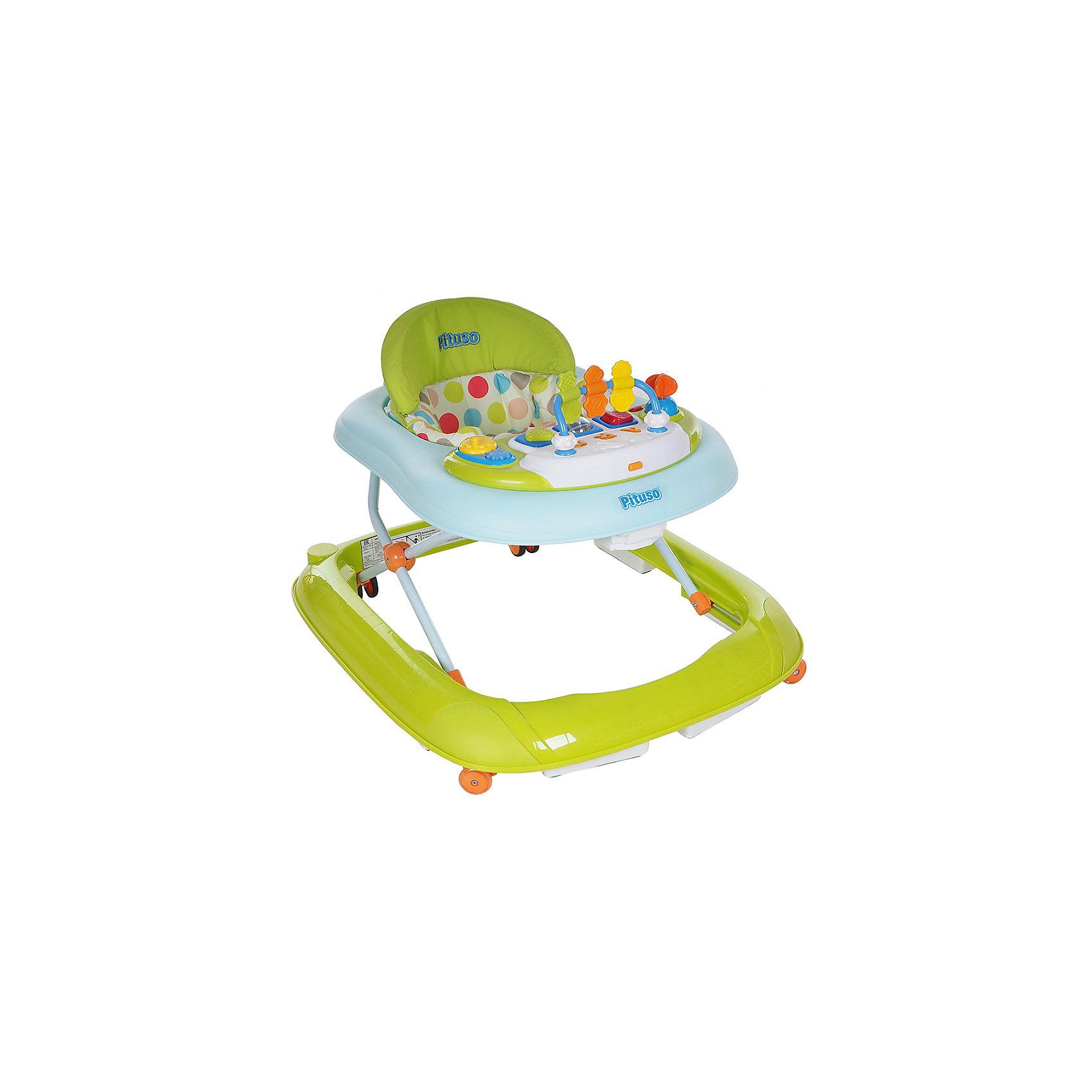 Ходунки ABC, Pituso, зеленыйХодунки<br>Характеристики ходунков Pituso:<br><br>• высота ходунков регулируется в 3-х положениях;<br>• музыкальное сопровождение;<br>• световые эффекты;<br>• развивающие игрушки;<br>• устойчивая конструкция ходунков;<br>• мягкое сиденье эргономичной формы, высокая спинка;<br>• 8 колес, материал силикон;<br>• материал ходунков: пластик, чехлы – полиэстер.<br><br>Размер ходунков в сложенном виде: 62,5х11,5х72 см<br>Вес: 4,4 кг<br>Максимальная нагрузка: 13 кг<br><br>Ходунки ABC, Pituso, зеленые можно купить в нашем интернет-магазине.<br><br>Ширина мм: 645<br>Глубина мм: 110<br>Высота мм: 790<br>Вес г: 4230<br>Возраст от месяцев: 6<br>Возраст до месяцев: 12<br>Пол: Унисекс<br>Возраст: Детский<br>SKU: 5559197