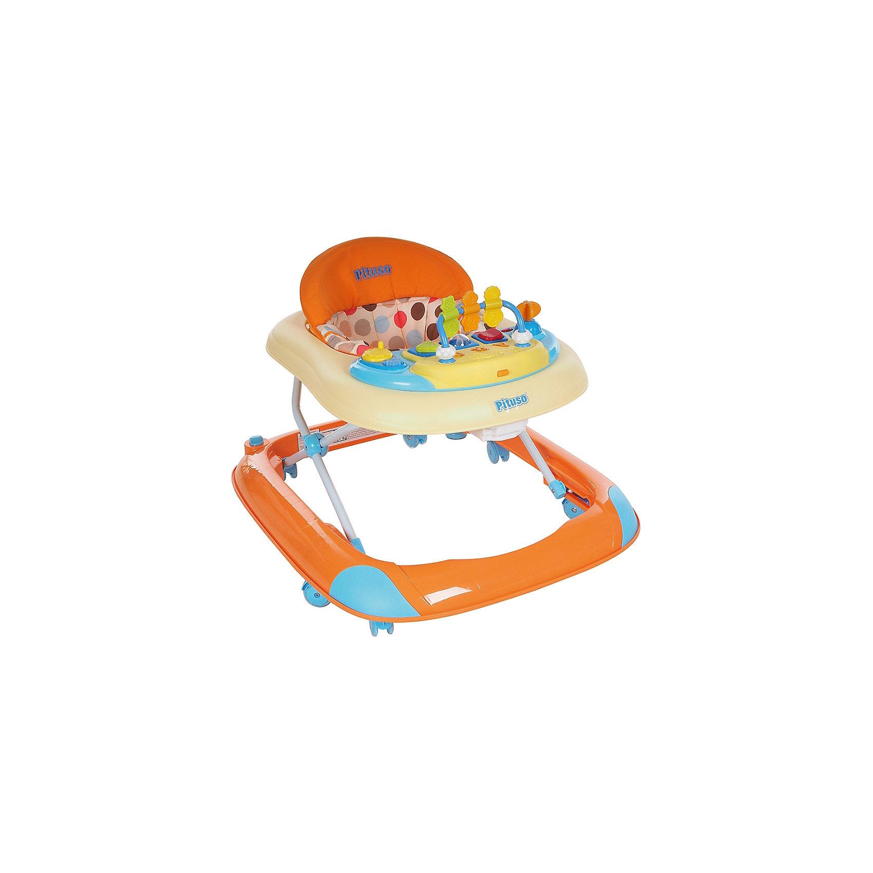 Ходунки ABC, Pituso, оранжевыйХодунки<br>Характеристики ходунков Pituso:<br><br>• высота ходунков регулируется в 3-х положениях;<br>• музыкальное сопровождение;<br>• световые эффекты;<br>• развивающие игрушки;<br>• устойчивая конструкция ходунков;<br>• мягкое сиденье эргономичной формы, высокая спинка;<br>• 8 колес, материал силикон;<br>• материал ходунков: пластик, чехлы – полиэстер.<br><br>Размер ходунков в сложенном виде: 62,5х11,5х72 см<br>Вес: 4,4 кг<br>Максимальная нагрузка: 13 кг<br><br>Ходунки ABC, Pituso, оранжевые можно купить в нашем интернет-магазине.<br><br>Ширина мм: 645<br>Глубина мм: 110<br>Высота мм: 790<br>Вес г: 4800<br>Возраст от месяцев: 6<br>Возраст до месяцев: 12<br>Пол: Унисекс<br>Возраст: Детский<br>SKU: 5559198
