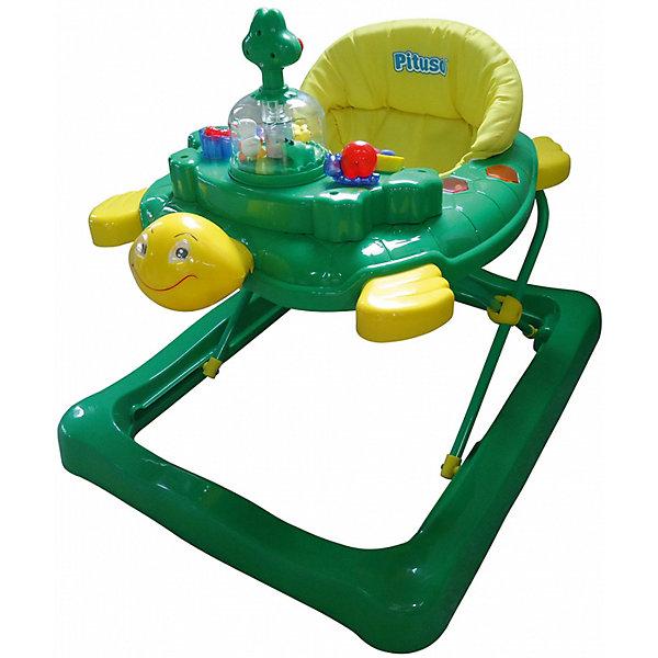 Ходунки Tortuga Черепаха, Pituso, зеленыйХодунки<br>Характеристики ходунков Pituso:<br><br>• высота ходунков регулируется в 3-х положениях;<br>• музыкальное сопровождение;<br>• развивающие игрушки;<br>• устойчивая конструкция ходунков;<br>• мягкое сиденье эргономичной формы, высокая спинка;<br>• 4 колеса, 2 поворотные с блокировкой, 2 с фиксаторами, материал силикон;<br>• материал ходунков: пластик, чехлы – полиэстер.<br><br>Размер ходунков: 64х55х71 см<br>Вес: 5,9 кг<br>Максимальная нагрузка: 13 кг<br><br>Ходунки Tortuga Черепаха, Pituso, зеленый можно купить в нашем интернет-магазине.<br><br>Ширина мм: 640<br>Глубина мм: 550<br>Высота мм: 710<br>Вес г: 5900<br>Возраст от месяцев: 6<br>Возраст до месяцев: 12<br>Пол: Унисекс<br>Возраст: Детский<br>SKU: 5559206