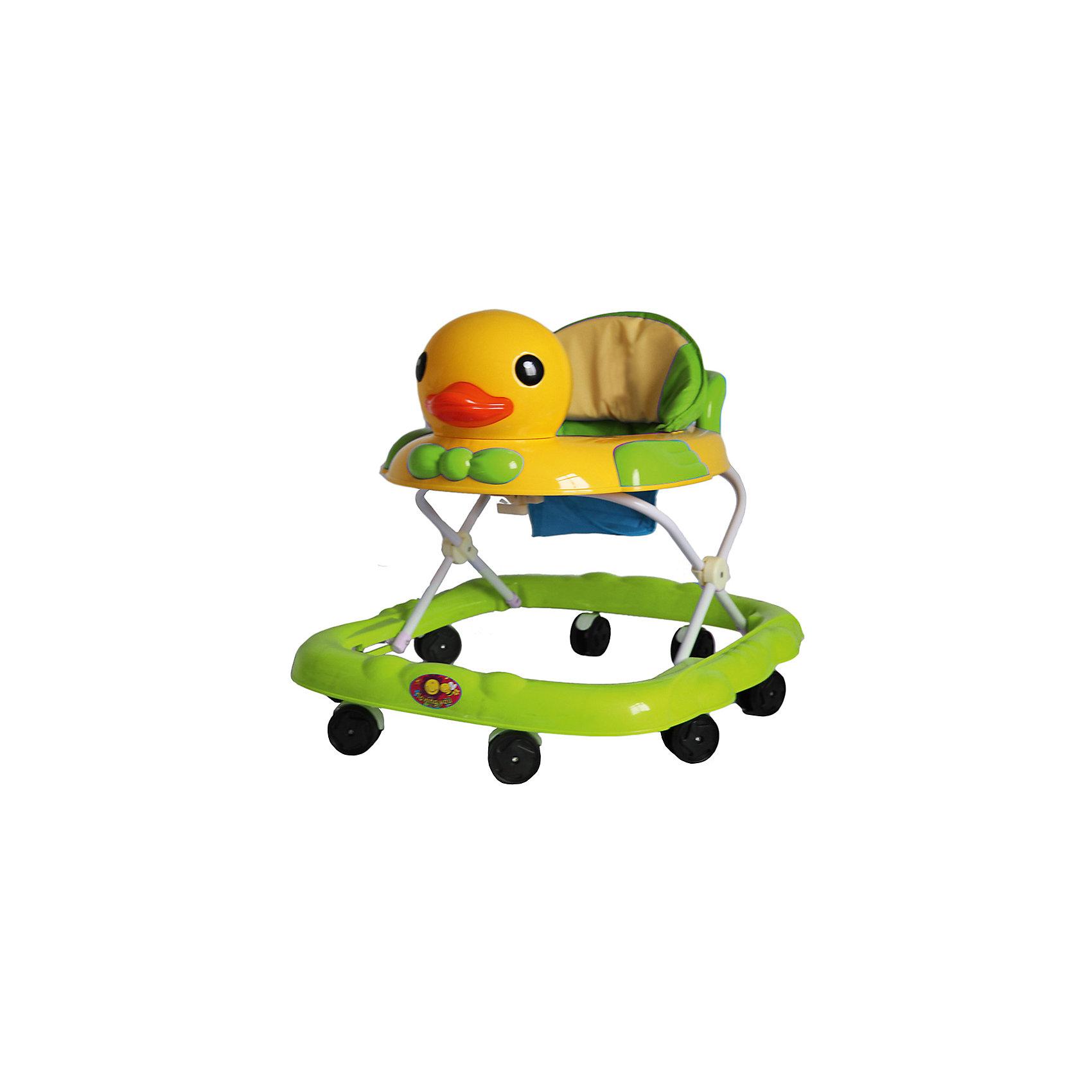 Ходунки Утка, Shine Ring, зеленыйХодунки<br>Характеристики товара:<br><br>• цвет: зеленый<br>• возраст: от 6 мес.<br>• 8 поворотных колес<br>• съемная игровая панель<br>• музыкальное сопровождение<br>• мягкое сиденье<br>• 3 положения высоты<br>• 2 батарейки типа (AA) (в комплект не входит)<br>• размеры: 71x63x55см<br>• вес: 3,4кг<br>• страна производства: Китай<br><br>Ходунки Shine Ring - это отличное приобретение, которое поможет вашему малышу сделать свои первые шаги. <br><br>Большое количество поворотных колес прекрасно распределят вес малыша. <br><br>Широкое основание придает отличную устойчивость, что обезопасит вашего ребенка. <br><br>Съемная игровая панель сможет развить мелкую моторику. <br><br>Приятное мягкое сидение прочно крепится к раме и не будет доставлять дискомфорт во время использования.<br><br>Ходунки Утка, Shine Ring можно купить в нашем интернет-магазине.<br><br>Ширина мм: 670<br>Глубина мм: 600<br>Высота мм: 510<br>Вес г: 3710<br>Возраст от месяцев: 6<br>Возраст до месяцев: 12<br>Пол: Унисекс<br>Возраст: Детский<br>SKU: 5559208