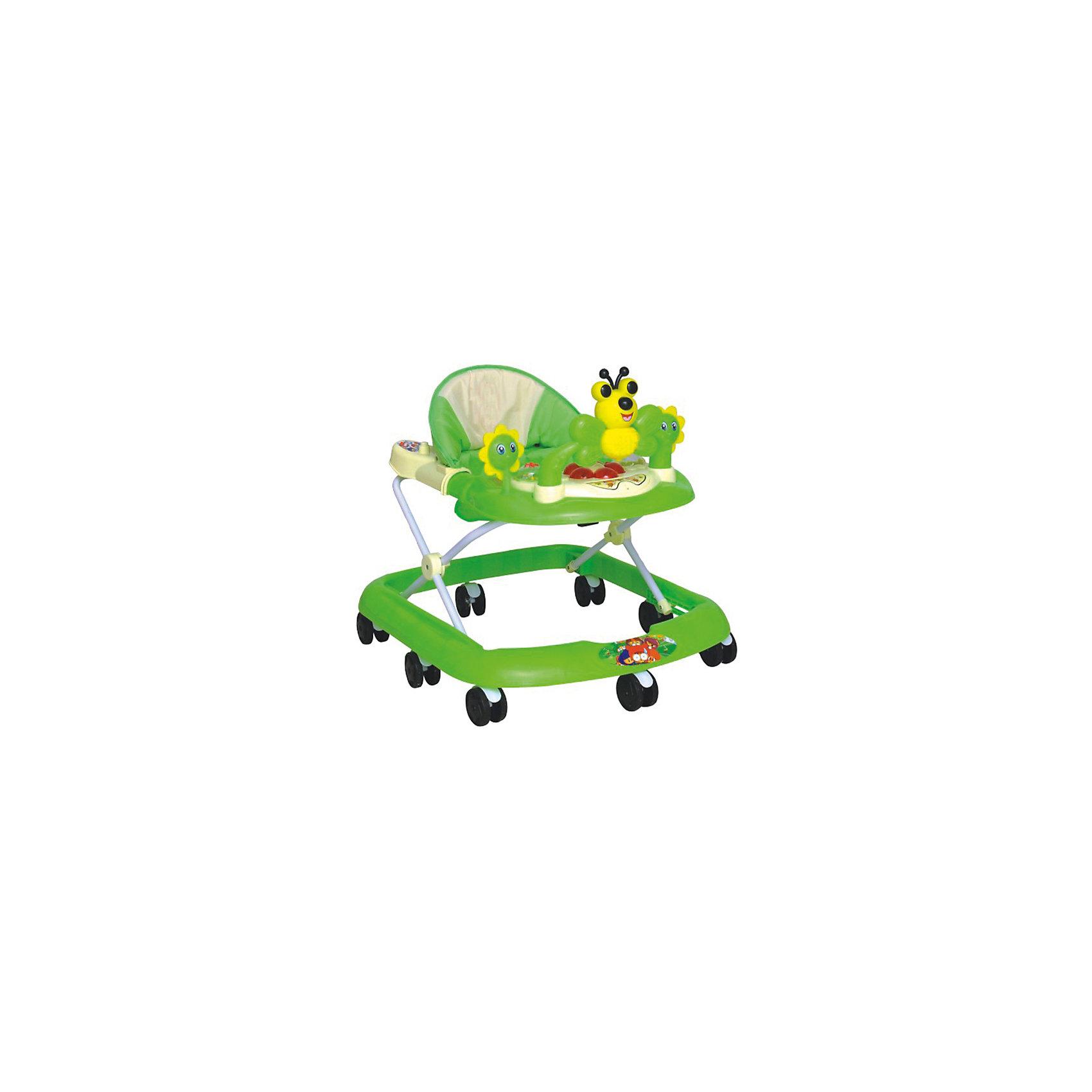 Ходунки Бабочка, Shine Ring, зеленыйХодунки<br>Характеристики товара:<br><br>• цвет: зеленый<br>• возраст: от 6 мес.<br>• нагрузка: не более 13кг<br>• 8 поворотных колес<br>• съемная игровая панель<br>• музыкальное сопровождение<br>• мягкое сиденье<br>• 3 положения высоты<br>• 2 батарейки типа (AA) (в комплект не входит)<br>• размеры: 67x60x62см<br>• вес: 3кг<br>• страна производства: Китай<br><br>Shine Ring Бабочка – ходунки для деток в возрасте от 6 месяцев до 13кг.<br><br>Они имеют широкое устойчивое основание, а также 8 сдвоенных колесиков, установленных по периметру, что делает простым управление для малыша и повышает мобильность этого первого детского транспорта. <br><br>При необходимости колесики блокируются стоппером.<br><br>Ходунки Бабочка, Shine Ring можно купить в нашем интернет-магазине.<br><br>Ширина мм: 670<br>Глубина мм: 600<br>Высота мм: 520<br>Вес г: 3600<br>Возраст от месяцев: 6<br>Возраст до месяцев: 12<br>Пол: Унисекс<br>Возраст: Детский<br>SKU: 5559217