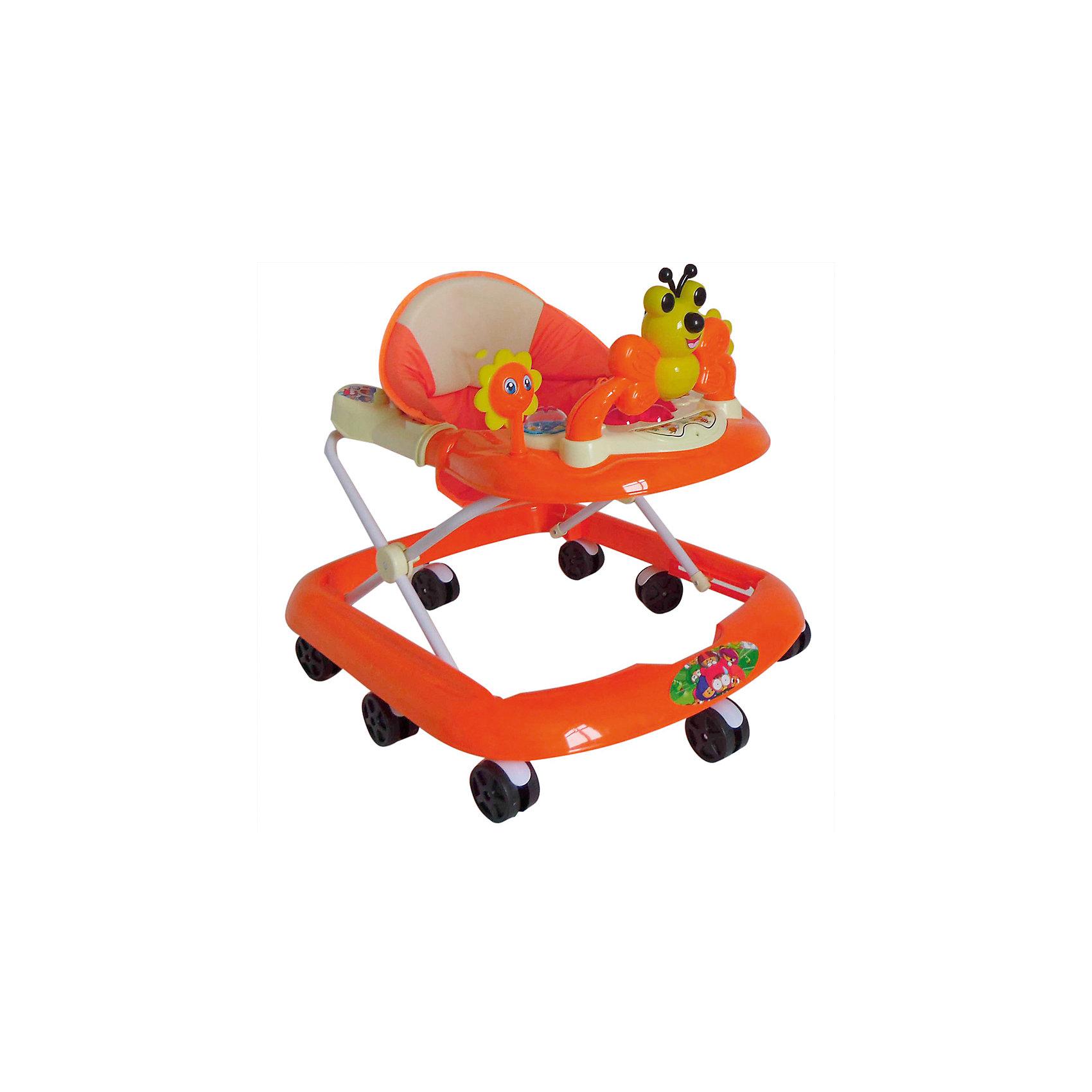 Ходунки Бабочка, Shine Ring, оранжевыйХодунки<br>Характеристики товара:<br><br>• цвет: оранжевый<br>• возраст: от 6 мес.<br>• нагрузка: не более 13кг<br>• 8 поворотных колес<br>• съемная игровая панель<br>• музыкальное сопровождение<br>• мягкое сиденье<br>• 3 положения высоты<br>• 2 батарейки типа (AA) (в комплект не входит)<br>• размеры: 67x60x62см<br>• вес: 3кг<br>• страна производства: Китай<br><br>Shine Ring Бабочка – ходунки для деток в возрасте от 6 месяцев до 13кг.<br><br>Они имеют широкое устойчивое основание, а также 8 сдвоенных колесиков, установленных по периметру, что делает простым управление для малыша и повышает мобильность этого первого детского транспорта. <br><br>При необходимости колесики блокируются стоппером.<br><br>Ходунки Бабочка, Shine Ring можно купить в нашем интернет-магазине.<br><br>Ширина мм: 670<br>Глубина мм: 600<br>Высота мм: 520<br>Вес г: 3600<br>Возраст от месяцев: 6<br>Возраст до месяцев: 12<br>Пол: Унисекс<br>Возраст: Детский<br>SKU: 5559218