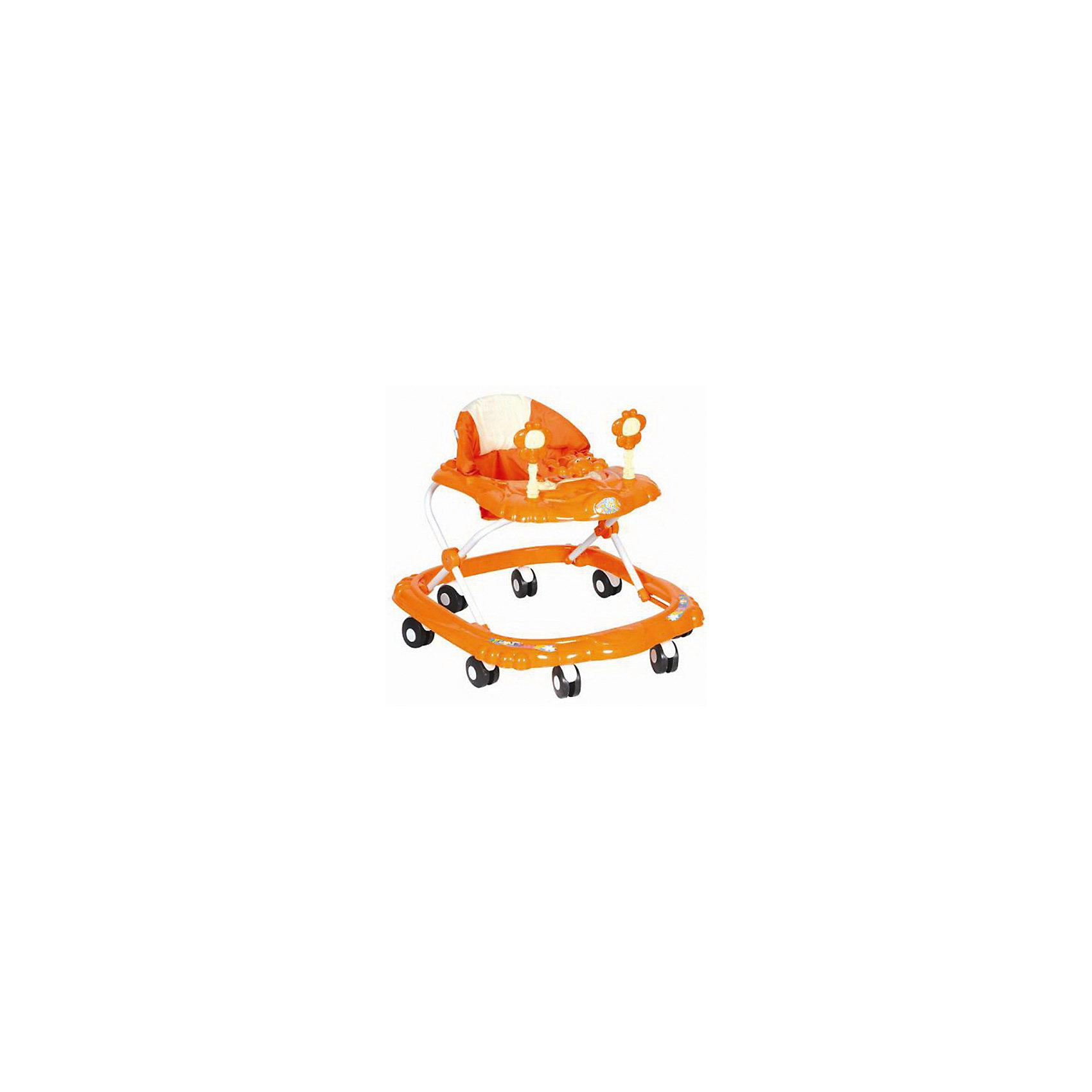 Ходунки Цветочки, Shine Ring, оранжевыйХодунки<br>Характеристики товара:<br><br>• цвет: оранжевый<br>• возраст: от 6 мес.<br>• 8 поворотных колес<br>• съемная игровая панель<br>• музыкальное сопровождение<br>• мягкое сиденье<br>• 3 положения высоты<br>• 2 батарейки типа (AA) (в комплект не входит)<br>• размеры: 66x56x47см<br>• вес: 3,4кг<br>• страна производства: Китай<br><br>Ходунки Shine Ring - это отличное приобретение, которое поможет вашему малышу сделать свои первые шаги. <br><br>Большое количество поворотных колес прекрасно распределят вес малыша. <br><br>Широкое основание придает отличную устойчивость, что обезопасит вашего ребенка. <br><br>Съемная игровая панель сможет развить мелкую моторику. <br><br>Приятное мягкое сидение прочно крепится к раме и не будет доставлять дискомфорт во время использования.<br><br>Ходунки Цветочки, Shine Ring можно купить в нашем интернет-магазине.<br><br>Ширина мм: 670<br>Глубина мм: 600<br>Высота мм: 520<br>Вес г: 2800<br>Возраст от месяцев: 6<br>Возраст до месяцев: 12<br>Пол: Унисекс<br>Возраст: Детский<br>SKU: 5559223