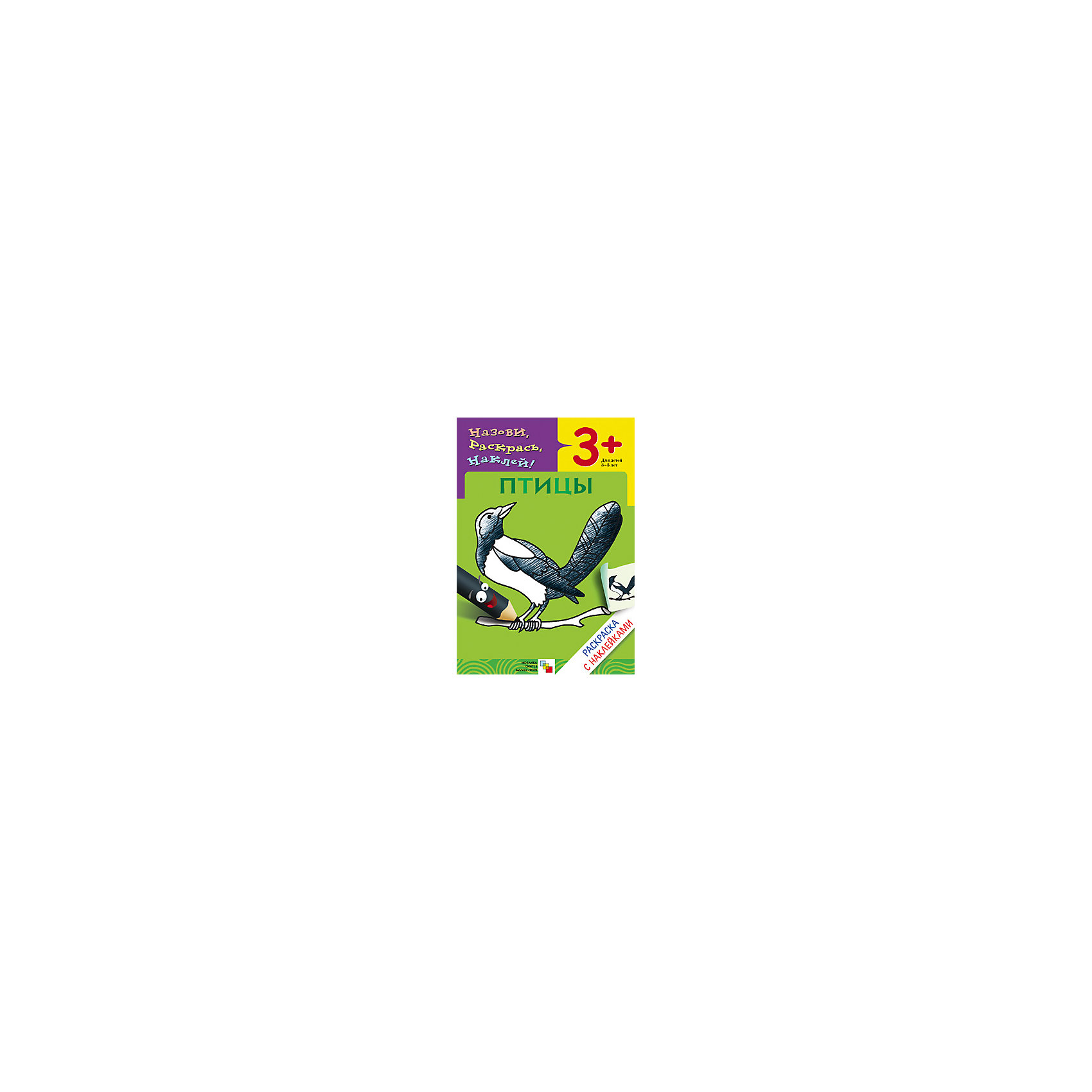 Раскраска с наклейками ПтицыРисование<br>Раскраска с наклейками «Птицы»<br><br>Характеристики:<br>• издательство: Мозаика-Синтез;<br>• размер: 24х0,2х17 см.;<br>• количество страниц: 8 <br>• тип обложки: мягкая<br>• иллюстрации: чёрно-белые;<br>• ISBN: 9785867756710;<br>• вес: 64 г.;<br>• для детей в возрасте: от 3х лет;<br>• страна производитель: Россия.<br>Развивающая книжка-раскраска из серии «Назови, раскрась, наклей!» предназначена для детей от трёх лет. С её помощью ребёнок сможет называть птиц, а потом раскрашивать их. Наклейки-подсказки помогут с выбором цвета для каждого вида птиц. Все птицы описаны в виде тематических забавных четверостиший, которые развлекут ребёнка. Занимаясь с книжкой-раскраской дети смогут развивать мелкую моторику рук, чувство цвета, творческие способности, логику. Слушая и запоминая стихи дети развивают память, словарный запас, учатся правильно формировать и строить предложения, запоминают основные правила русского языка. <br>Раскраску с наклейками «Птицы» можно купить в нашем интернет-магазине.<br><br>Ширина мм: 20<br>Глубина мм: 170<br>Высота мм: 240<br>Вес г: 55<br>Возраст от месяцев: 36<br>Возраст до месяцев: 60<br>Пол: Унисекс<br>Возраст: Детский<br>SKU: 5562601