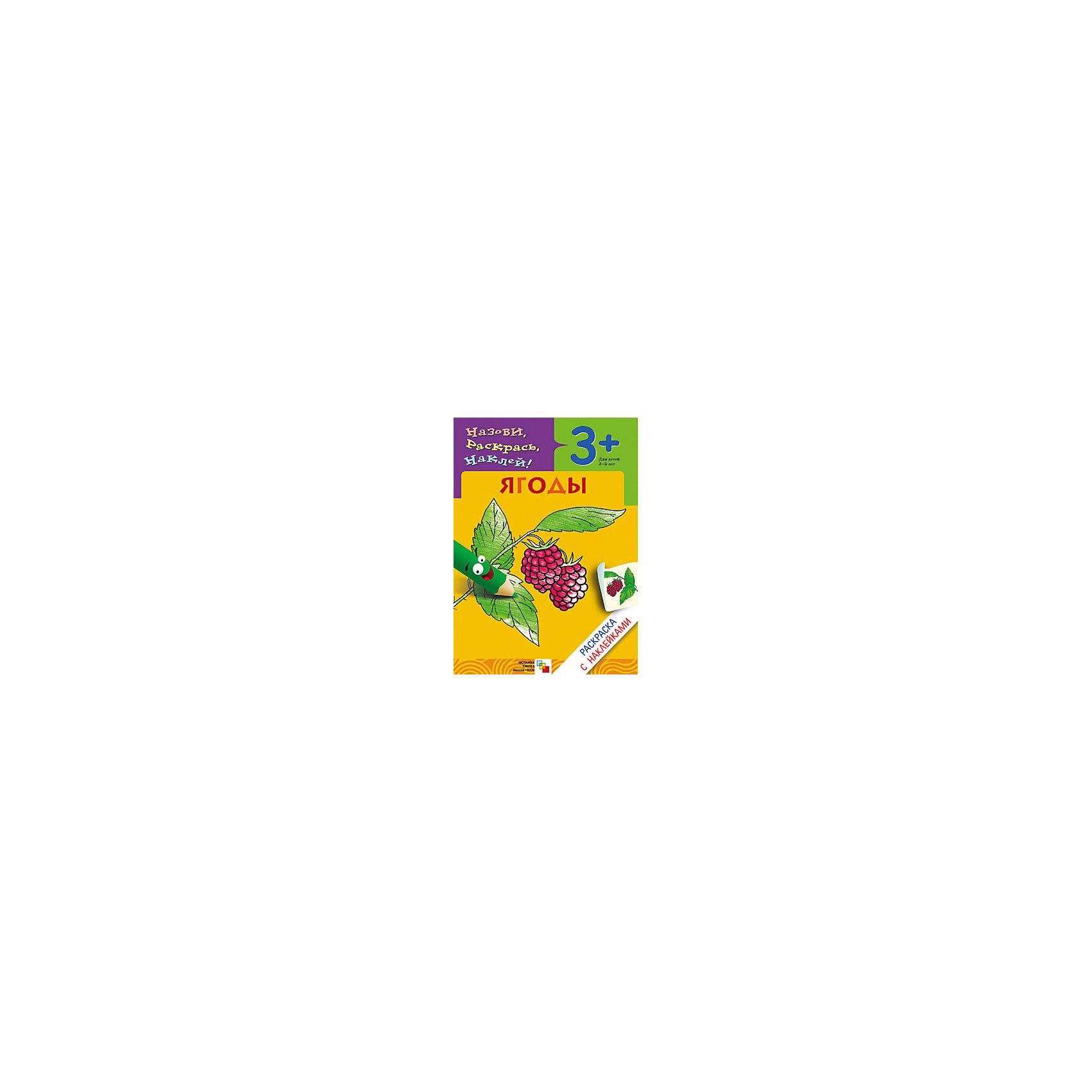 Раскраска с наклейками ЯгодыРисование<br>Раскраска с наклейками.Ягоды<br>Замечательные познавательные раскраски серии Назови, раскрась, наклей! издательства Мозаика-Синтез не оставят равнодушным ни одного малыша!<br>Раскраска Ягоды содержит изображения: виноград, вишня, клубника, крыжовник, малина, слива, смородина, черника.<br>Книжки-раскраски этой серии очень удобного формата (размер детской раскраски -17*24 см.), их легко взять с собой на прогулку, в поликлинику, в гости.<br>Яркие красочные наклейки, четкий контур, реалистичность изображения.<br>С помощью раскрасок данной серии малыш узнает много нового и интересного о животных, птицах, растениях и множестве других вещей.<br>Раскраску приятно взять в руки: качественная плотная белая бумага, яркие наклейки.<br>На каждой страничке представлен один предмет.<br> Сверху - небольшое четверостишие о персонаже, рядом - место для наклейки, а под стихотворением - непосредственно раскраска.<br>Сзади - на форзаце книги приведено несколько заданий, которые можно выполнить, используя дополнительные наклейки.<br> Например, приклеить недостающие буквы в слове или же наклейку с тем или иным предметом (животным).<br>В каждой книжке-раскраске - изображения 8 предметов или животных.<br>С наклейками книжка оживает, по сути превращаясь в развивающий атлас на данную тему.<br>Соберите полную коллекцию развивающих раскрасок!<br>Такой мини-атлас пригодится для определения грибов, ягод, деревьев в лесу, или для классификации животных при посещении зоопарка или цирка.<br><br>Ширина мм: 20<br>Глубина мм: 170<br>Высота мм: 240<br>Вес г: 55<br>Возраст от месяцев: 36<br>Возраст до месяцев: 60<br>Пол: Унисекс<br>Возраст: Детский<br>SKU: 5562605