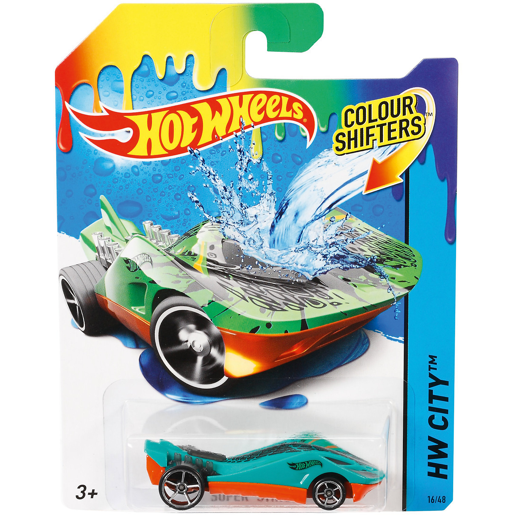 Меняющая цвет машинка COLOR SHIFTERS, Hot WheelsМашинки<br>Такая машинка приведет в восторг всех любителей Hot Wheels! Любимые машинки не только быстро ездят, они могут менять цвет при попадании в воду! Все очень просто: теплая вода меняет цвет вашего автомобиля, и ледяная вода возвращает его обратно. Собери все машинки и устрой настоящие гонки! <br><br>Дополнительная информация<br><br>- Материал: пластик, металл.<br>- Размер упаковки: 12 х 11 х 3 см.<br><br>Меняющую цвет машинку COLOR SHIFTERS, Hot Wheels (Хот вилс), можно купить в нашем магазине.<br><br>Ширина мм: 166<br>Глубина мм: 126<br>Высота мм: 32<br>Вес г: 47<br>Возраст от месяцев: 36<br>Возраст до месяцев: 84<br>Пол: Мужской<br>Возраст: Детский<br>SKU: 5562977