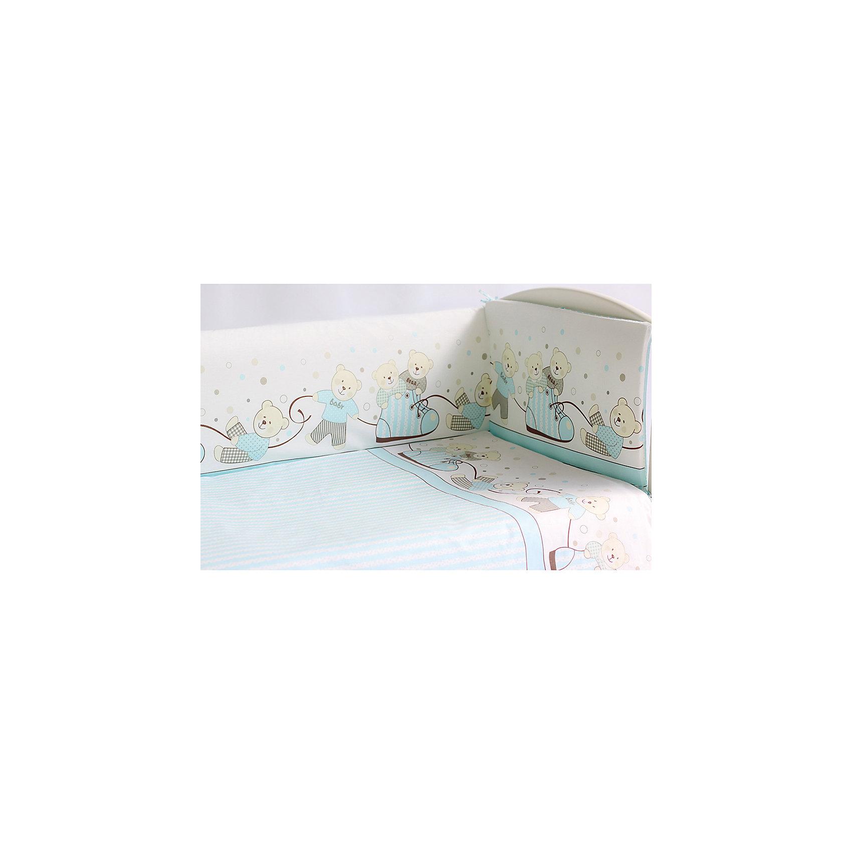 Комплект в кроватку Мишки, 6 пред., Pituso, голубойПостельное бельё<br>Характеристики товара:<br><br>• возраст с рождения;<br>• материал: бязь, хлопок;<br>• бортик в кроватку из 4 частей 120х60 см<br>• пододеяльник 147х112 см<br>• наволочка 60х40 см<br>• простыня на резинке 100х150 см<br>• одеяло 140х110 см<br>• подушка 60х40 см;<br>• размер упаковки 59х45х28 см;<br>• вес упаковки 2,8 кг;<br>• страна производитель: Россия.<br><br>Комплект в кроватку Мишки Pituso голубой обеспечит крохе уют и спокойный сон. Наполнитель является экологическим и безопасным для детей, он пропускает воздух, не вызывает аллергических реакций, в нем не заводятся вредные микроорганизмы. Изготовлен комплект из натурального мягкого хлопка, который легко стирается, не теряет цвет.<br><br>Комплект в кроватку Мишки Pituso голубой 6 предметов можно приобрести в нашем интернет-магазине.<br><br>Ширина мм: 590<br>Глубина мм: 450<br>Высота мм: 280<br>Вес г: 2800<br>Возраст от месяцев: 0<br>Возраст до месяцев: 36<br>Пол: Унисекс<br>Возраст: Детский<br>SKU: 5563662