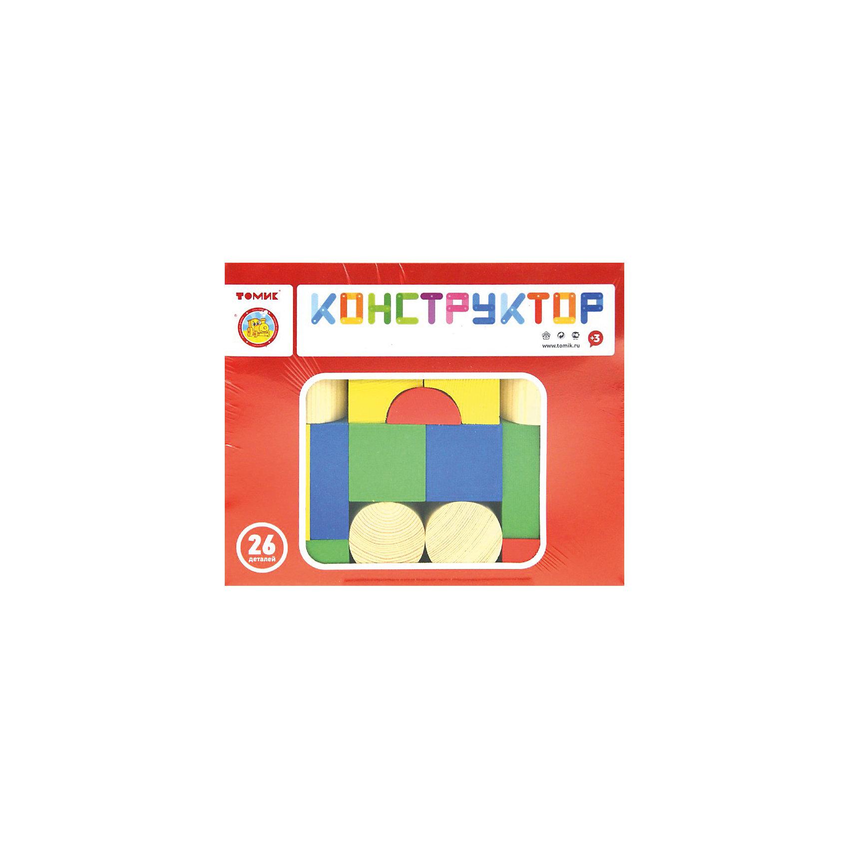 Конструктор, 26 деталей, ТОМИКДеревянные конструкторы<br>Первый конструктор для малыша — это обязательно должен состоять из простейших геометрических форм, яркий и позволяющий даже самым маленьким доступные композиции. Все эти свойства сочетает в себе серия конструкторов «Цветной»<br>Что входит в конструктор?<br><br>    26 деталей различной формы: яркие кубики, параллелепипеды, пирамиды, цилиндры и полуцилиндры для конструирования.<br><br>Почему конструкторы «ТОМИК» так полезны для детей?<br><br>Конструкторы из дерева — это прекрасная возможность для развития моторики пальцев и пространственного мышления. Ребенок составляет простейшие композиции, учится совмещать детали, выравнивать их, придавать всей конструкции устойчивость. Все это кажется таким простым и доступным для взрослого человека, но еще такое сложное для малыша, которые только познает мир.<br><br>Вместе с ребенком можно попробовать придумать интересные истории, которые связаны с только что построенными домиками и башенками. Кто в них может жить? Как зовут эту зверюшку или человечка? Предлагайте малышу придумать, чем занимается ваш герой, куда он ходит на прогулку, с кем он дружит. Все это в комплексе формирует у ребенка навык связанного повествования и творческое мышление.<br><br>Попробуйте решать с помощью фигур конструктора простейшие математические задачи: какой предмет крупнее, чем отличится геометрические формы? Все это важные шаги на пути к постепенному развитию малыша.<br><br>Ширина мм: 210<br>Глубина мм: 170<br>Высота мм: 40<br>Вес г: 645<br>Возраст от месяцев: 36<br>Возраст до месяцев: 2147483647<br>Пол: Унисекс<br>Возраст: Детский<br>SKU: 5565980