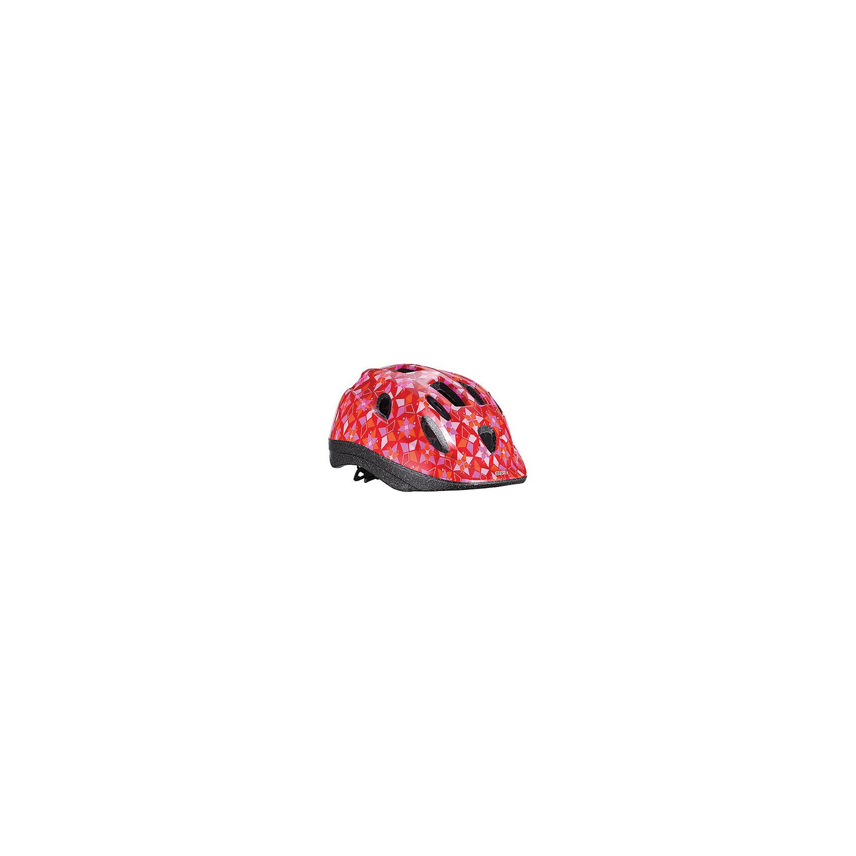 Летний шлем Boogy самый милый, BBBЗащита, шлемы<br>Характеристики товара:<br><br>• возраст от 3 лет;<br>• материал: ударопрочный пластик;<br>• 12 вентиляционных отверстий<br>• светоотражающие эелементы сзади<br>• размер упаковки 27х24х18 см;<br>• вес упаковки 500 гр.;<br>• страна производитель: Китай.<br><br>Летний шлем Boogy Самый милый ВВВ надежно защитит голову во время падения при езде на велосипеде. Ремешки шлема настраиваются индивидуально для комфортной посадки. 12 вентиляционных отверстий на корпусе обеспечивают хороший воздухообмен. Сетка в вентиляционных отверстиях защищает от насекомых. Мягкие накладки обладают антибактериальными свойствами, а также по мере необходимости снимаются для стирки. На задней части шлема расположены светоотражающие элементы для видимости в темное время суток. Шлем выполнен из ударопрочного материала.<br><br>Летний шлем Boogy Самый милый ВВВ можно приобрести в нашем интернет-магазине.<br><br>Ширина мм: 270<br>Глубина мм: 240<br>Высота мм: 180<br>Вес г: 500<br>Цвет: розовато-красный<br>Возраст от месяцев: 96<br>Возраст до месяцев: 144<br>Пол: Женский<br>Возраст: Детский<br>Размер: 52-56,48-54<br>SKU: 5565999