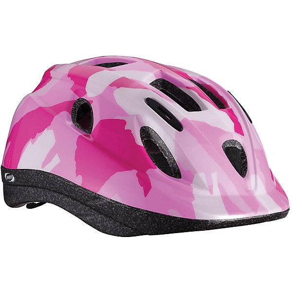 Летний шлем Boogy камуфляж розовый, BBBЗащита, шлемы<br>Характеристики товара:<br><br>• возраст от 3 лет;<br>• материал: ударопрочный пластик;<br>• 12 вентиляционных отверстий<br>• светоотражающие элементы сзади<br>• размер упаковки 27х24х18 см;<br>• вес упаковки 500 гр.;<br>• страна производитель: Китай.<br><br>Летний шлем Boogy Камуфляж розовый ВВВ надежно защитит голову во время падения при езде на велосипеде. Ремешки шлема настраиваются индивидуально для комфортной посадки. 12 вентиляционных отверстий на корпусе обеспечивают хороший воздухообмен. Сетка в вентиляционных отверстиях защищает от насекомых. Мягкие накладки обладают антибактериальными свойствами, а также по мере необходимости снимаются для стирки. На задней части шлема расположены светоотражающие элементы для видимости в темное время суток. Шлем выполнен из ударопрочного материала.<br><br>Летний шлем Boogy Камуфляж розовый ВВВ можно приобрести в нашем интернет-магазине.<br>Ширина мм: 270; Глубина мм: 240; Высота мм: 180; Вес г: 500; Цвет: розовый; Возраст от месяцев: 36; Возраст до месяцев: 84; Пол: Женский; Возраст: Детский; Размер: 52-56,48-54; SKU: 5566005;