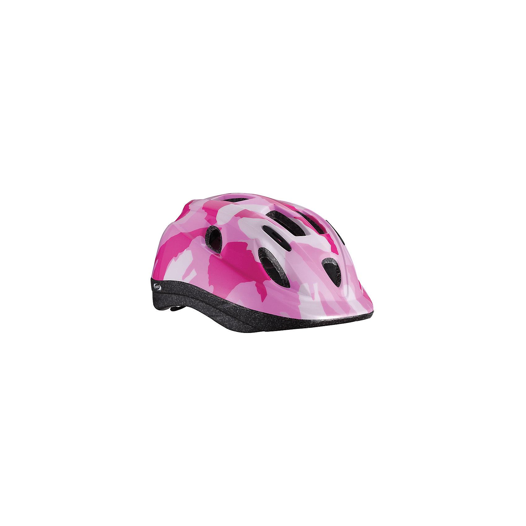 Летний шлем Boogy камуфляж розовый, BBBЗащита, шлемы<br>Характеристики товара:<br><br>• возраст от 3 лет;<br>• материал: ударопрочный пластик;<br>• 12 вентиляционных отверстий<br>• светоотражающие элементы сзади<br>• размер упаковки 27х24х18 см;<br>• вес упаковки 500 гр.;<br>• страна производитель: Китай.<br><br>Летний шлем Boogy Камуфляж розовый ВВВ надежно защитит голову во время падения при езде на велосипеде. Ремешки шлема настраиваются индивидуально для комфортной посадки. 12 вентиляционных отверстий на корпусе обеспечивают хороший воздухообмен. Сетка в вентиляционных отверстиях защищает от насекомых. Мягкие накладки обладают антибактериальными свойствами, а также по мере необходимости снимаются для стирки. На задней части шлема расположены светоотражающие элементы для видимости в темное время суток. Шлем выполнен из ударопрочного материала.<br><br>Летний шлем Boogy Камуфляж розовый ВВВ можно приобрести в нашем интернет-магазине.<br><br>Ширина мм: 270<br>Глубина мм: 240<br>Высота мм: 180<br>Вес г: 500<br>Цвет: розовый<br>Возраст от месяцев: 96<br>Возраст до месяцев: 144<br>Пол: Женский<br>Возраст: Детский<br>Размер: 52-56,48-54<br>SKU: 5566005