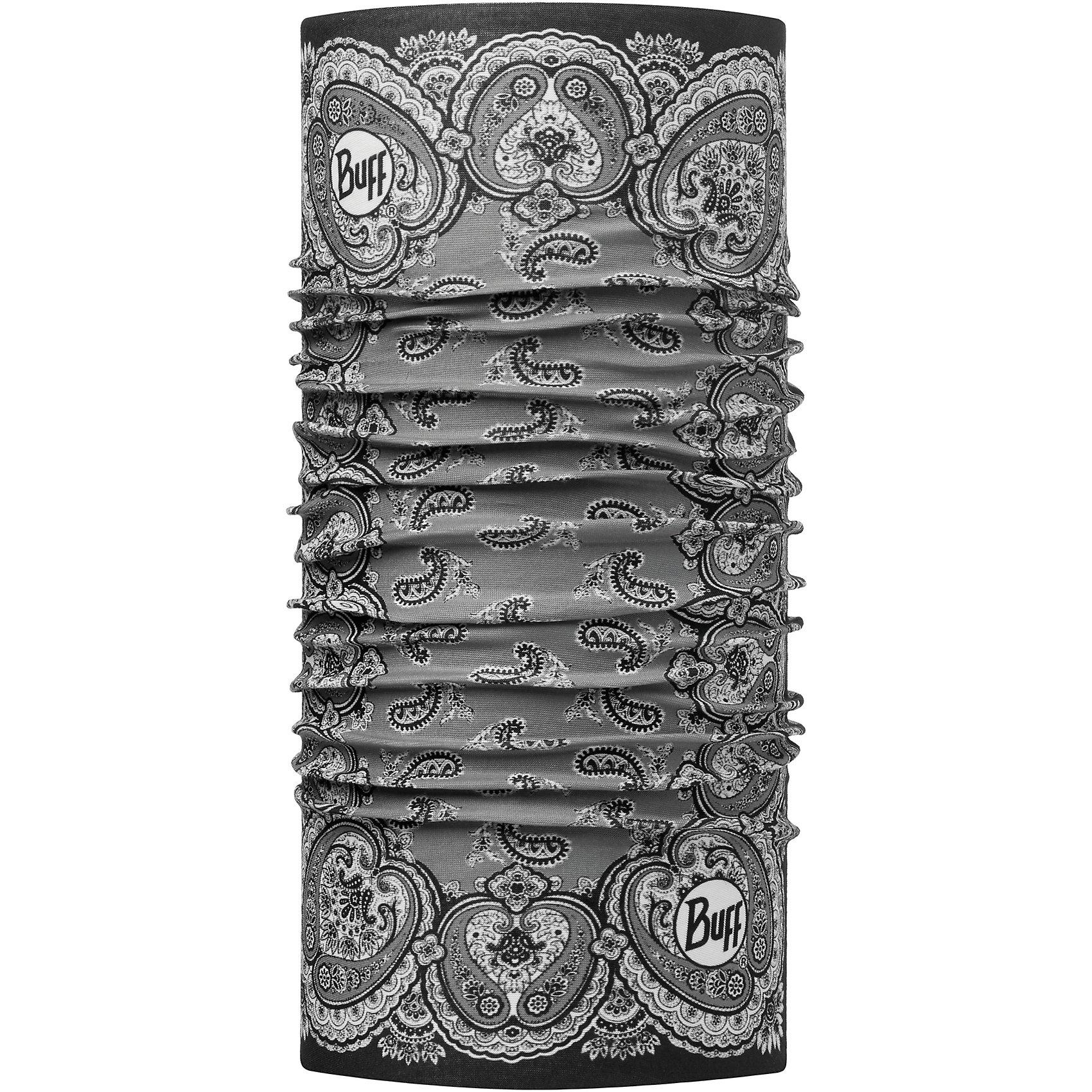 Бандана BUFFГоловные уборы<br>Бандана BUFF <br>Бесшовная бандана-труба из специальной серии Original BUFF. Original BUFF - самый популярный универсальный головной убор из всех серий. <br><br>Сделан из микрофибры - защищает от ветра, пыли, влаги и ультрафиолета. Контролирует микроклимат в холодную и теплую погоду, отводит влагу. Ткань обработана ионами серебра, обеспечивающими длительный антибактериальный эффект и предотвращающими появление запаха. Допускается машинная и ручная стирка при 30-40градусах. Материал не теряет цвет и эластичность, не требует глажки. <br><br>Original BUFF можно носить на шее и на голове, как шейный платок, маску, бандану, шапку и подшлемник. <br><br>Свойства материала позволяют использовать бандану Original BUFF в любое время года, при занятиях любым видом спорта, активного отдыха, туризма или рыбалки.<br>Состав:<br>Полиэстер 100%<br><br>Ширина мм: 89<br>Глубина мм: 117<br>Высота мм: 44<br>Вес г: 155<br>Цвет: черный<br>Возраст от месяцев: 84<br>Возраст до месяцев: 1188<br>Пол: Унисекс<br>Возраст: Детский<br>Размер: one size<br>SKU: 5568759