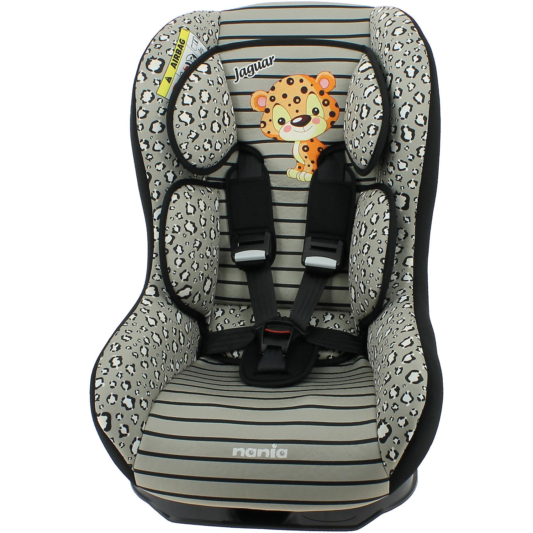 Автокресло Nania Driver 0-18 кг, jaguarГруппа 0+, 1 (До 18 кг)<br>Характеристики:<br><br>• группа: 0/1;<br>• вес ребенка: до 18 кг;<br>• возраст ребенка: от рождения до 4-х лет;<br>• способ установки: по ходу движения автомобиля;<br>• способ крепления: с помощью штатных ремней безопасности автомобиля;<br>• наличие мягкого анатомического вкладыша с подголовником;<br>• регулируемый угол наклона спинки: 5 положений включая положение «полулежа»;<br>• 5-ти точечные ремни безопасности оснащены мягкими плечевыми накладками;<br>• ремни регулируются по длине и высоте – 3 уровня;<br>• усиленная боковая защита SP - Side Protection;<br>• съемные чехлы, стирка при температуре 30 градусов;<br>• материал: пластик, полиэстер;<br>• размеры автокресла: 54х45х61 см;<br>• размер сиденья: 31х31 см;<br>• высота спинки: 55 см;<br>• вес автокресла: 5,7 кг.<br><br>Автокресло устанавливается на заднем сидении автомобиля или на переднем сидении автомобиля с обязательным условием отключения подушки безопасности. Автокресло укомлпектовано вкладышем для новорожденного, подголовником и двумя дополнительными подушками. Спинка автокресла опускается от положения «сидя» до положения «полулежа». Чехлы автокресла можно снять и постирать при температуре 30 градусов.<br><br>Автокресло Driver, 0-18кг., Nania, jaguar можно купить в нашем интернет-магазине.<br><br>Ширина мм: 460<br>Глубина мм: 520<br>Высота мм: 600<br>Вес г: 5520<br>Возраст от месяцев: 0<br>Возраст до месяцев: 48<br>Пол: Унисекс<br>Возраст: Детский<br>SKU: 5569321