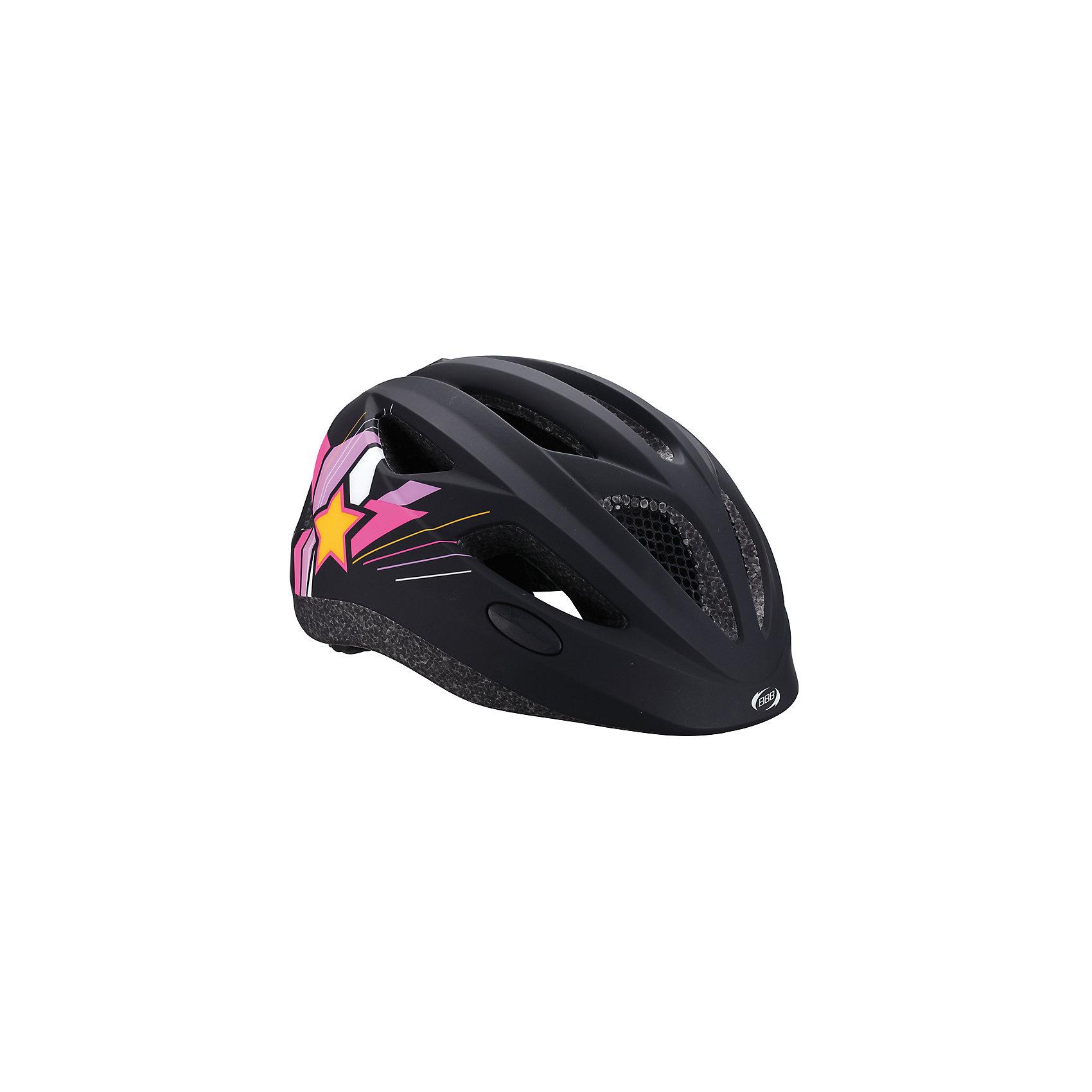 Летний шлем Hero звезды матово-черный, BBBЗащита, шлемы<br>Характеристики товара:<br><br>• 11 вентиляционных отверстий<br>• задние вентиляционные отверстия<br>• сетка - защищает от насекомых<br>• регулируемые ремни для совершенной и удобной посадки<br>• легкая регулировка TwistClose системы, можно регулировать одной рукой <br>• моющиеся антибактериальные накладки<br>• светоотражающие наклейки сзади<br>• страна производства: Тайвань<br><br>Безопасность превыше всего - девиз Hero. <br><br>Активный отдых на свежем воздухе - лучшее времяпрепровождение летом. Неважно, что выбрал ребенок: самокат, беговел или велосипед,  в любом случае, шлем необходим по правилам техники безопасности.<br><br>Летний шлем Hero звезды матово-черный можно купить в нашем интернет-магазине.<br><br>Ширина мм: 270<br>Глубина мм: 240<br>Высота мм: 180<br>Вес г: 500<br>Возраст от месяцев: 36<br>Возраст до месяцев: 144<br>Пол: Унисекс<br>Возраст: Детский<br>SKU: 5569388