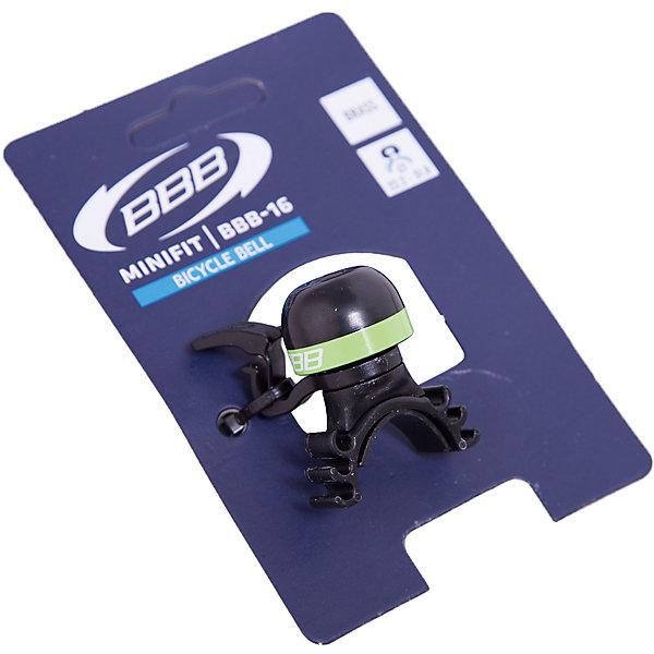 Звонок MiniFit  черный/зеленый, BBBАксеcсуары для велосипедов<br>Характеристики товара: <br><br>• цвет: черный/зеленый<br>• быстросъемный <br>• крепление с резиновым ремешком<br>• подходит для всех видов рулей<br>• прочная и легкая конструкция<br><br>Звонок MiniFit  черный/зеленый, BBB можно купить в нашем интернет-магазине.<br>Ширина мм: 160; Глубина мм: 80; Высота мм: 40; Вес г: 31; Возраст от месяцев: 36; Возраст до месяцев: 144; Пол: Унисекс; Возраст: Детский; SKU: 5569392;