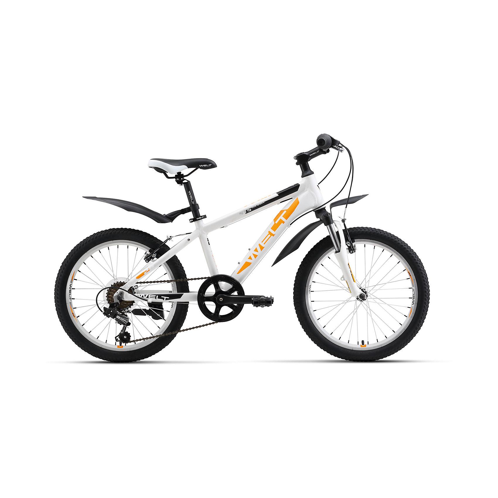 Велосипед  Peak 20, бело-оранжевый, WeltВелосипеды детские<br>Характеристики товара:<br><br>•  цвет: белый, оранжевый <br>• возраст: от 4 лет <br>• рама: Alloy 6061<br>• диаметр колес: 20<br>• скоростей: 7<br>• вилка: амортизационная (WELT ES-245 73 mm)<br>• задний переключатель: Shimano TY-21<br>• шифтеры: Shimano RS-35 R 7spd<br>• тормоза: CB-141 (V-brake)<br>• каретка: semi-cartridge<br>• кассета: TriDaimond FW217B<br>• тип рулевой колонки: 1-1/8 безрезьбовая<br>• вынос: alloy, A-Head, 80mm<br>• руль: steel low rise Ф25,4 560mm<br>• ободья: alloy, double wall<br>• покрышки: Wanda P1197 20x1,95<br>• втулки: YS w/QR<br>• подседельный штырь: steel Ф27,2 300mm<br>• цепь: KMC Z33<br>• вес: 16.5 кг <br>•размер: 145х20х80см. <br>• страна бренда: Германия  <br><br>Горный велосипед для мальчиков с колесами 20 дюймов, собранных на двойных ободах, гораздо более устойчивых к ударам, бордюрам и деформациям. <br><br>Рама из алюминиевого сплава сварена из труб сложного профиля, что обеспечивает высокую надежность и безопасность при эксплуатации. <br><br>Рулевой узел выполнен по стандартам взрослых горных велосипедов, что также повышает эксплуатационные свойства. <br><br>Модель оборудована амортизационной вилкой и 7 скоростной трансмиссией Shimano Tourney. В комплект велосипеда входят крылья и подножка. <br><br>Велосипед  Peak 20 можно купить в нашем интернет-магазине.<br><br>Ширина мм: 1450<br>Глубина мм: 200<br>Высота мм: 800<br>Вес г: 16500<br>Возраст от месяцев: 72<br>Возраст до месяцев: 132<br>Пол: Унисекс<br>Возраст: Детский<br>SKU: 5569407