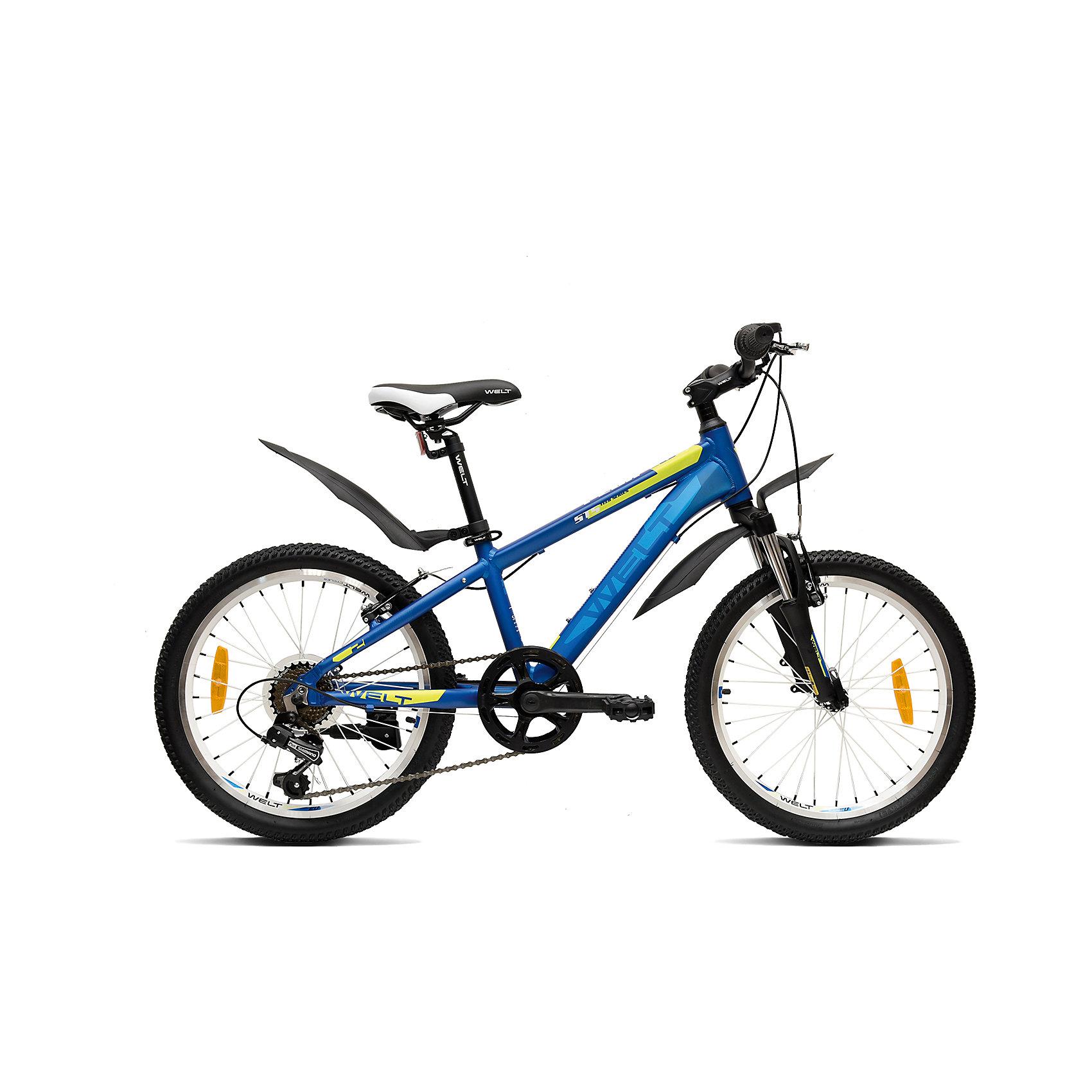 Велосипед  Peak 20, черно-голубой, WeltВелосипеды детские<br>Характеристики товара:<br><br>•  цвет: черный, голубой<br>• возраст: от 4 лет <br>• рама: Alloy 6061<br>• диаметр колес: 20<br>• скоростей: 7<br>• вилка: амортизационная (WELT ES-245 73 mm)<br>• задний переключатель: Shimano TY-21<br>• шифтеры: Shimano RS-35 R 7spd<br>• тормоза: CB-141 (V-brake)<br>• каретка: semi-cartridge<br>• кассета: TriDaimond FW217B<br>• тип рулевой колонки: 1-1/8 безрезьбовая<br>• вынос: alloy, A-Head, 80mm<br>• руль: steel low rise Ф25,4 560mm<br>• ободья: alloy, double wall<br>• покрышки: Wanda P1197 20x1,95<br>• втулки: YS w/QR<br>• подседельный штырь: steel Ф27,2 300mm<br>• цепь: KMC Z33<br>• вес: 16.5 кг <br>•размер: 145х20х80см. <br>• страна бренда: Германия  <br><br>Горный велосипед для мальчиков с колесами 20 дюймов, собранных на двойных ободах, гораздо более устойчивых к ударам, бордюрам и деформациям. <br><br>Рама из алюминиевого сплава сварена из труб сложного профиля, что обеспечивает высокую надежность и безопасность при эксплуатации. <br><br>Рулевой узел выполнен по стандартам взрослых горных велосипедов, что также повышает эксплуатационные свойства. <br><br>Модель оборудована амортизационной вилкой и 7 скоростной трансмиссией Shimano Tourney. В комплект велосипеда входят крылья и подножка. <br><br>Велосипед  Peak 20 можно купить в нашем интернет-магазине.<br><br>Ширина мм: 1450<br>Глубина мм: 200<br>Высота мм: 800<br>Вес г: 16500<br>Возраст от месяцев: 72<br>Возраст до месяцев: 132<br>Пол: Унисекс<br>Возраст: Детский<br>SKU: 5569408