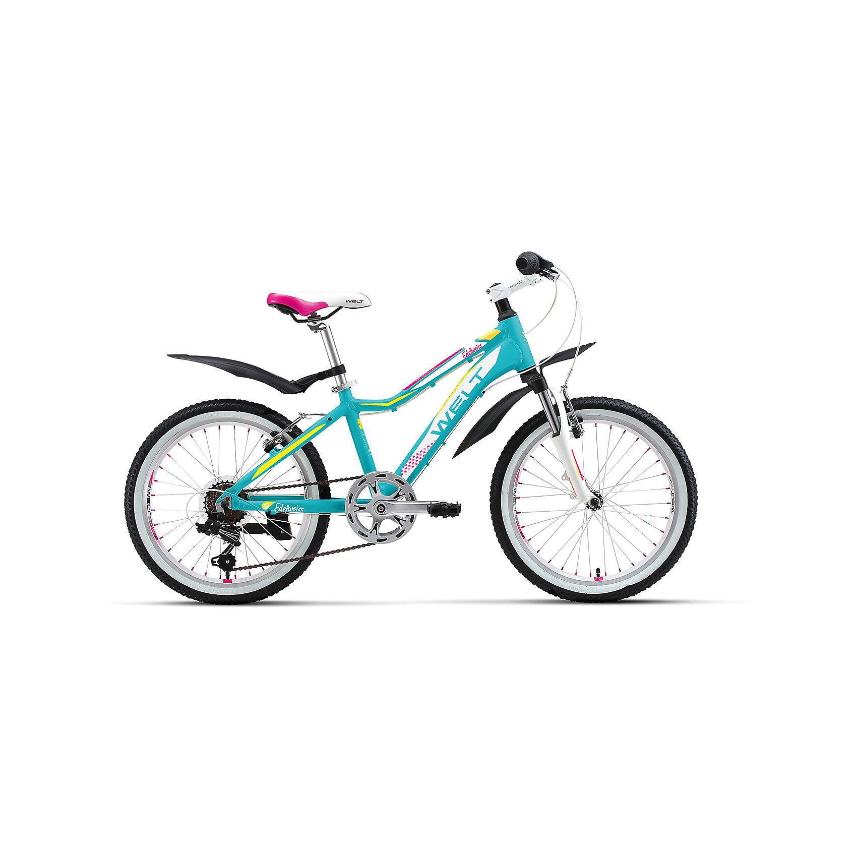 Велосипед  Edelweiss 20, сетло-голубо-белый, WeltВелосипеды детские<br>Характеристики товара: <br><br>•  цвет: белый, голубой <br>•  Рама: Alloy 6061(алюминий)<br>•  Диаметр колес: 20<br>•  7 скоростей<br>•  вилка: амортизационная (WELT ES-245 73 mm)<br>•  задний переключатель: Shimano TY-21<br>•  шифтеры: Shimano RS-35 R 7spd<br>•  тип тормозов: V-brake (CB-141)<br>• система: 42/34/24 T 152mm<br>•  каретка: semi-cartridge<br>• кассета: TriDaimond FW217B<br>• тип рулевой колонки: 1-1/8 безрезьбовая<br>• вынос: alloy, A-Head, 80mm<br>• руль: steel low rise Ф25,4 560mm<br>• ободья: alloy, double wall<br>• покрышки: Wanda P1197 20x1,95<br>• втулки: YS w/QR<br>• подседельный штырь: steel Ф27,2 300mm<br>• цепь: KMC Z33<br>• подножка: боковая, к раме<br>• крылья: якорь/подседельник<br>• вес 16.5 кг. <br>• размер: 145х20х80см. <br><br>Отличный выбор для ребенка возрастной группы  4-8 лет. <br>Алюминиевая рама с трубами сложного сечения обеспечивает высочайший уровень безопасности. <br>Яркие расцветки и стильные дополнительные элементы никого не оставят равнодушными. <br><br>Велосипед  Edelweiss 20 можно купить в нашем интернет-магазине.<br><br>Ширина мм: 1450<br>Глубина мм: 200<br>Высота мм: 800<br>Вес г: 16500<br>Возраст от месяцев: 72<br>Возраст до месяцев: 132<br>Пол: Унисекс<br>Возраст: Детский<br>SKU: 5569409