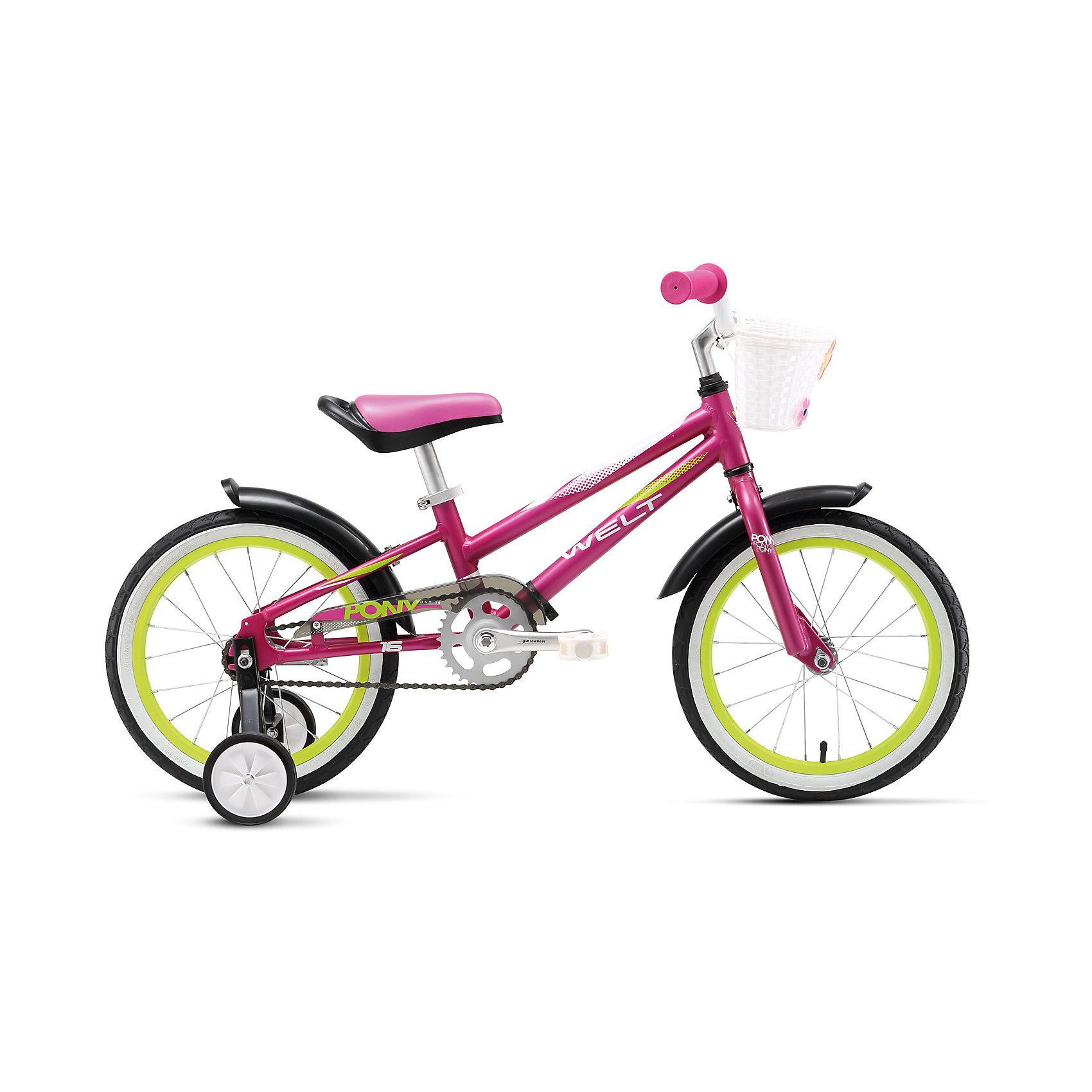 Велосипед  Pony 16, фиолетово-бело-зеленый, WeltВелосипеды детские<br>Характеристики товара:<br><br>• цвет: фиолетовый, белый, зеленый <br>• возраст: от 4 лет <br>• рама: Alloy 6061 (алюминий)<br>• диаметр колес: 16<br>• 1 скорость<br>• тип вилки: жесткая (Rigid)<br>• тип тормозов: ножной (coaster)<br>• система: 3 pcs alloy<br>• кассета: 28T integrated<br>• тип рулевой колонки:  1 резьбовая<br>• покрышки: Wanda 1021 16x2,125 <br>• вес 7,9 кг в сборе /7,2 кг без боковых колес и корзины <br>• размер:145х20х80см<br>•  страна бренда: Германия<br><br>Ультралегкая детская модель Пони 16 разработана специально для девочек. Боковые колеса будут отличными помошниками во время первых поездок.На руль крепится корзинка, в которую можно положить игрушки или бутылку воды. <br><br>Велосипед  Pony 16 можно купить в нашем интернет-магазине.<br><br>Ширина мм: 1450<br>Глубина мм: 200<br>Высота мм: 800<br>Вес г: 16500<br>Возраст от месяцев: 48<br>Возраст до месяцев: 2147483647<br>Пол: Унисекс<br>Возраст: Детский<br>SKU: 5569410