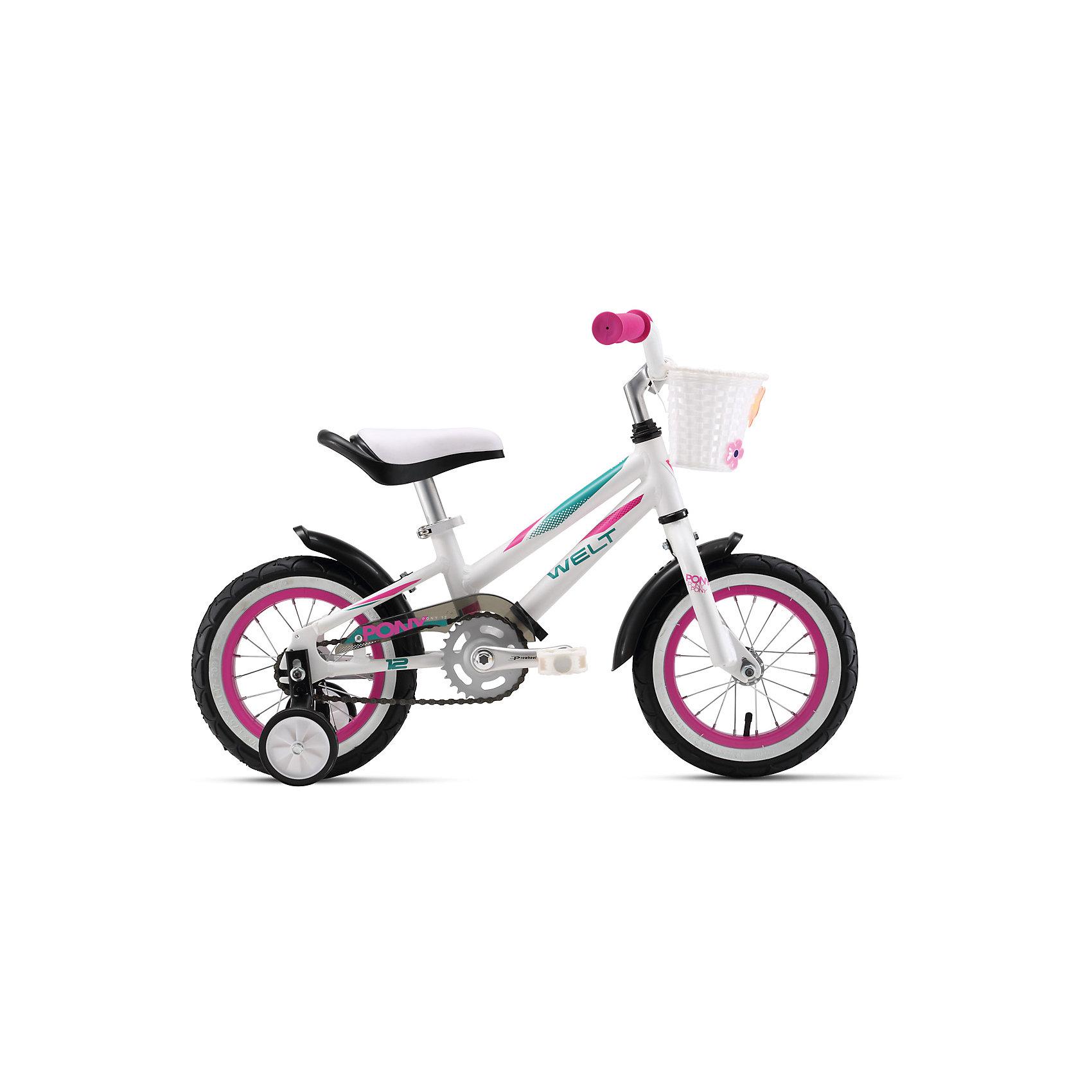 Велосипед  Pony 12, бело-розовый, WeltВелосипеды детские<br>Характеристики товара:<br><br>• цвет: белый, розовый <br>• возраст: от 4 лет<br>• рама: Alloy 6061<br>• диаметр колес: 12<br>• 1 скорость<br>• вилка: Rigid (жесткая)<br>• тип тормозов: ножной (coaster)<br>• система: 3 pcs alloy<br>• кассета: 28T integrated<br>• тип рулевой колонки:  1 резьбовая<br>• покрышки: Wanda 1021 16x2,125.  <br>• размер: 145х20х80см <br>• страна бренда: Германия <br><br>Велосипед  Pony 12 разработан специально для девочек. Яркие цвета, облегченная рама, боковые колеса и корзина в комплекте. Вес 7,2 кг в сборе / 6,5 кг без боковых колес и корзины. <br><br>Велосипед  Pony 12 можно купить в нашем интернет-магазине.<br><br>Ширина мм: 1450<br>Глубина мм: 200<br>Высота мм: 800<br>Вес г: 16500<br>Возраст от месяцев: 48<br>Возраст до месяцев: 2147483647<br>Пол: Унисекс<br>Возраст: Детский<br>SKU: 5569412