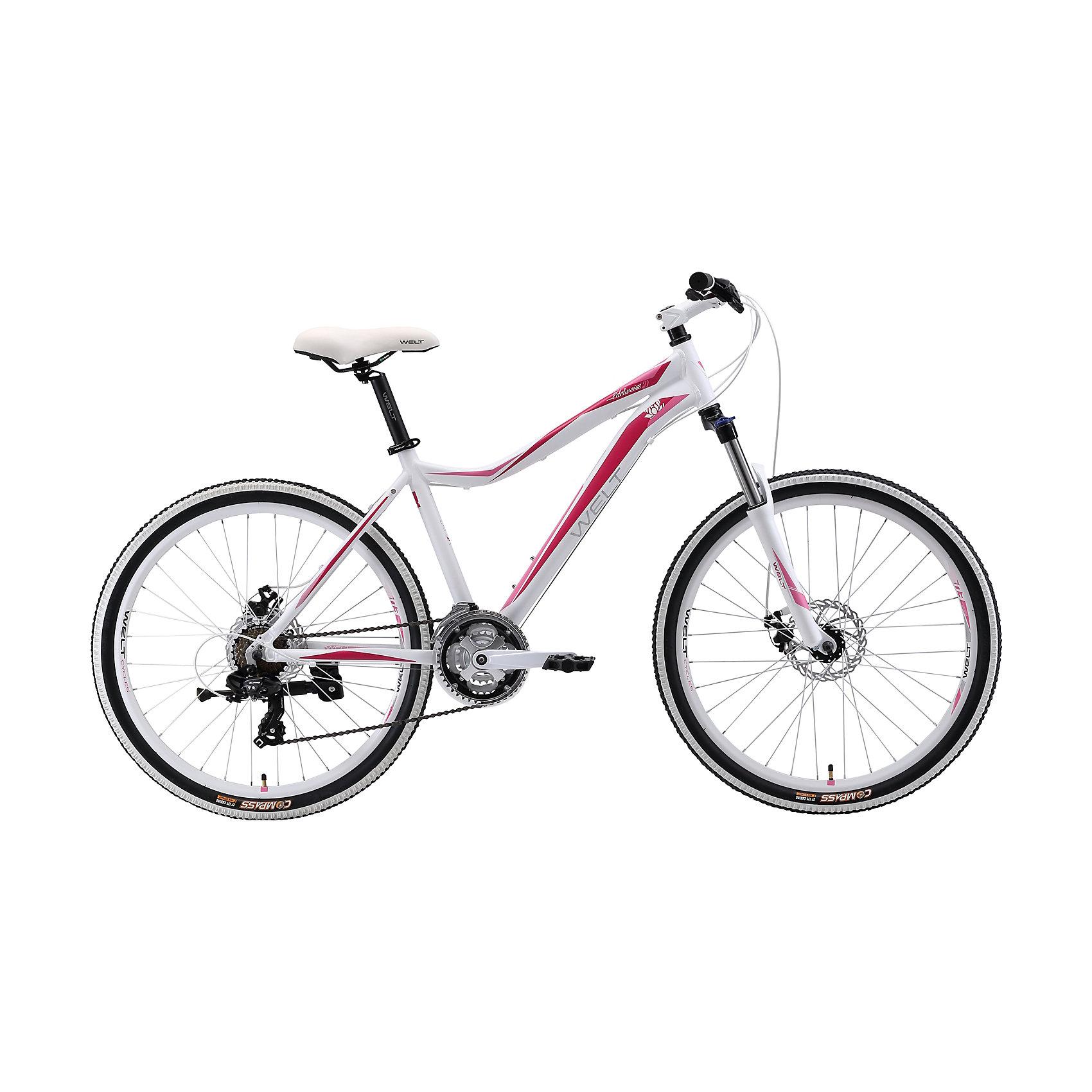 Велосипед  Edelweiss 1.0 D, 17 дюймов, бело-розовый, WeltВелосипеды детские<br>Характеристики товара:<br><br>• цвет: белый, розовый<br>• рама: Alloy 6061 <br>• размер рамы: 16,20<br>• диаметр колес: 26<br>• кол-во скоростей: 21<br>• тип вилки: амортизационная<br>• вилка: WELT MRK MLO 100mm<br>• переключатель задний : Shimano TY-300<br>• переключатель передний: Shimano TZ-30<br>• шифтеры: Shimano EF-51<br>• тип тормозов: дисковые механические<br>• тормоза: JAK-5<br>• система:  steel 42/34/24 <br>• кассета: Shimano HG20 12-28T<br>• тип рулевой колонки:  1-1/8 безрезьбовая<br>• покрышки: Compass 26 x 2,1 <br>• страна бренда: Германия <br><br>Велосипед  Edelweiss 1.0 D -это модель, которая создана  для кросс-кантри. Большие колеса, мягкая амортизация позволят преодолеть путь, проходящий по загородному бездорожью. <br><br>Велосипед  Edelweiss 1.0 D, 17 дюймов, бело-розовый, Welt можно купить в нашем интернет-магазине.<br><br>Ширина мм: 1450<br>Глубина мм: 200<br>Высота мм: 800<br>Вес г: 16500<br>Возраст от месяцев: 168<br>Возраст до месяцев: 2147483647<br>Пол: Женский<br>Возраст: Детский<br>SKU: 5569415