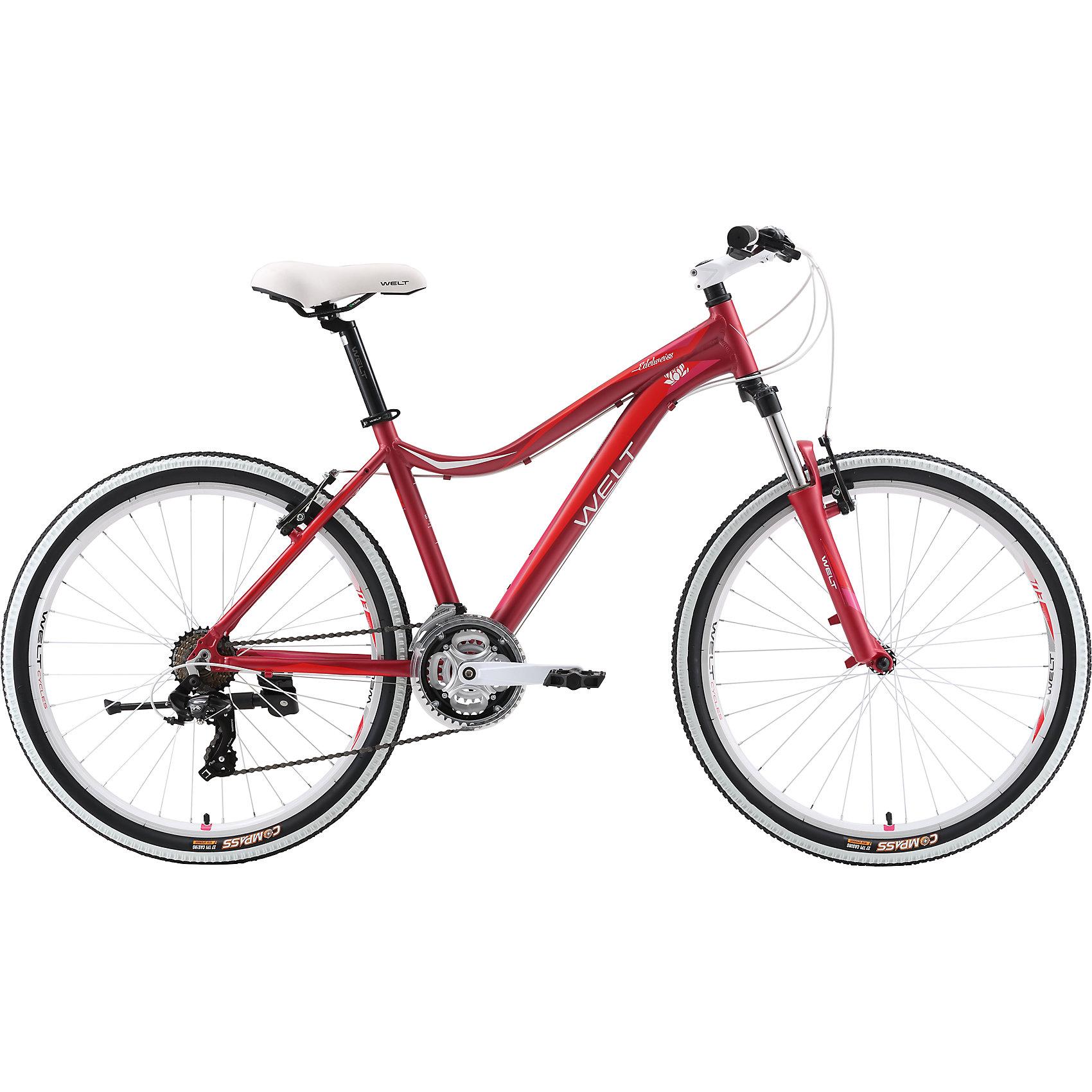 Велосипед  Edelweiss 1.0, 17 дюймов, темно-красный, WeltВелосипеды детские<br>Характеристики товара:<br><br>• цвет: красный<br>• рама: Alloy 6061 <br>• размер рамы: 16,20<br>• диаметр колес: 26<br>• кол-во скоростей: 21<br>• тип вилки: амортизационная<br>• вилка: WELT MRK MLO 100mm<br>• переключатель задний : Shimano TY-300<br>• переключатель передний: Shimano TZ-30<br>• шифтеры: Shimano EF-51<br>• тип тормозов: дисковые механические<br>• тормоза: JAK-5<br>• система:  steel 42/34/24 <br>• кассета: Shimano HG20 12-28T<br>• тип рулевой колонки:  1-1/8 безрезьбовая<br>• покрышки: Compass 26 x 2,1 <br>• страна бренда: Германия <br><br>Велосипед  Edelweiss 1.0 D -это модель, которая создана  для кросс-кантри. Большие колеса, мягкая амортизация позволят преодолеть путь, проходящий по загородному бездорожью. <br><br>Велосипед  Edelweiss 1.0 D, 17 дюймов, красный, Welt можно купить в нашем интернет-магазине.<br><br>Ширина мм: 1450<br>Глубина мм: 200<br>Высота мм: 800<br>Вес г: 16500<br>Возраст от месяцев: 48<br>Возраст до месяцев: 2147483647<br>Пол: Женский<br>Возраст: Детский<br>SKU: 5569416