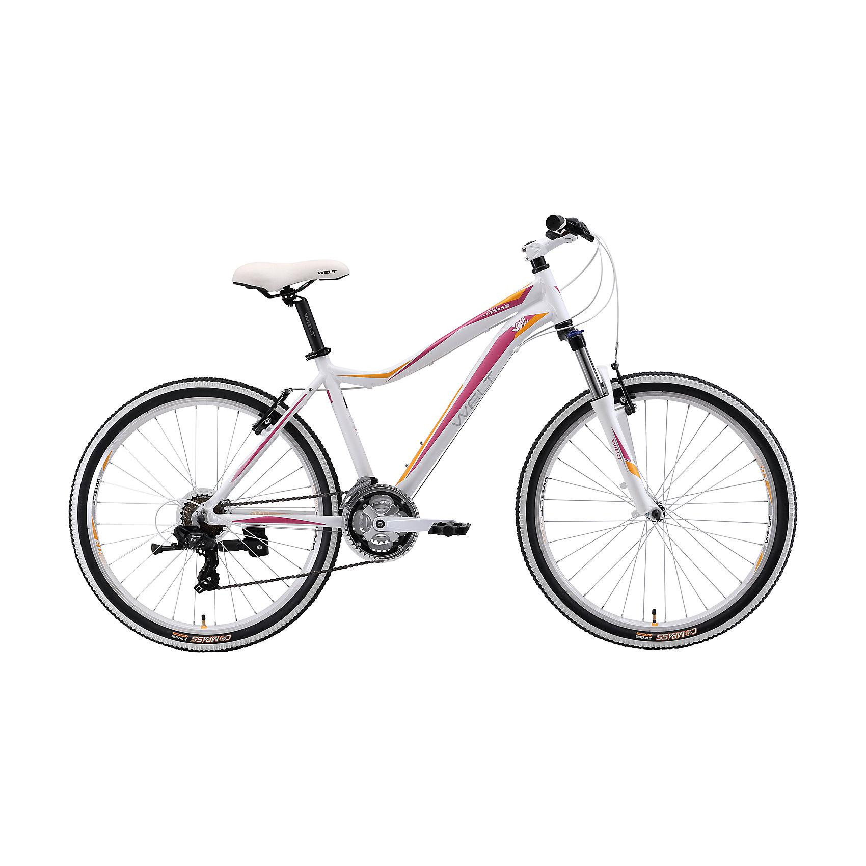 Велосипед  Edelweiss 1.0, 15, 5 дюймов, бело-фиолетовый, WeltВелосипеды детские<br>Характеристики товара:<br><br>• цвет: белый, фиолетовый<br>• рама: Alloy 6061 <br>• размер рамы: 16,20<br>• диаметр колес: 26<br>• кол-во скоростей: 21<br>• тип вилки: амортизационная<br>• вилка: WELT MRK MLO 100mm<br>• переключатель задний : Shimano TY-300<br>• переключатель передний: Shimano TZ-30<br>• шифтеры: Shimano EF-51<br>• тип тормозов: V-brake<br>• тормоза: Alloy YX-122<br>• система: steel 42/34/24<br>• кассета: Shimano HG20 12-28T<br>• тип рулевой колонки:  1-1/8 безрезьбовая<br>• покрышки: Compass 26 x 2,1<br>• страна бренда: Германия <br><br>Элегантная модель велосипеда Edelweiss разработана для эксплуатации как в городе, так и на легком бездорожье. Цвет рамы, стиль и дизайн подчеркивают женственность, сохраняя спортивные черты. <br><br>Велосипед  Edelweiss 1.0 D, 15,5 дюймов, бело-фиолетовый, Welt можно купить в нашем интернет-магазине.<br><br>Ширина мм: 1450<br>Глубина мм: 200<br>Высота мм: 800<br>Вес г: 16500<br>Возраст от месяцев: 168<br>Возраст до месяцев: 2147483647<br>Пол: Женский<br>Возраст: Детский<br>SKU: 5569419