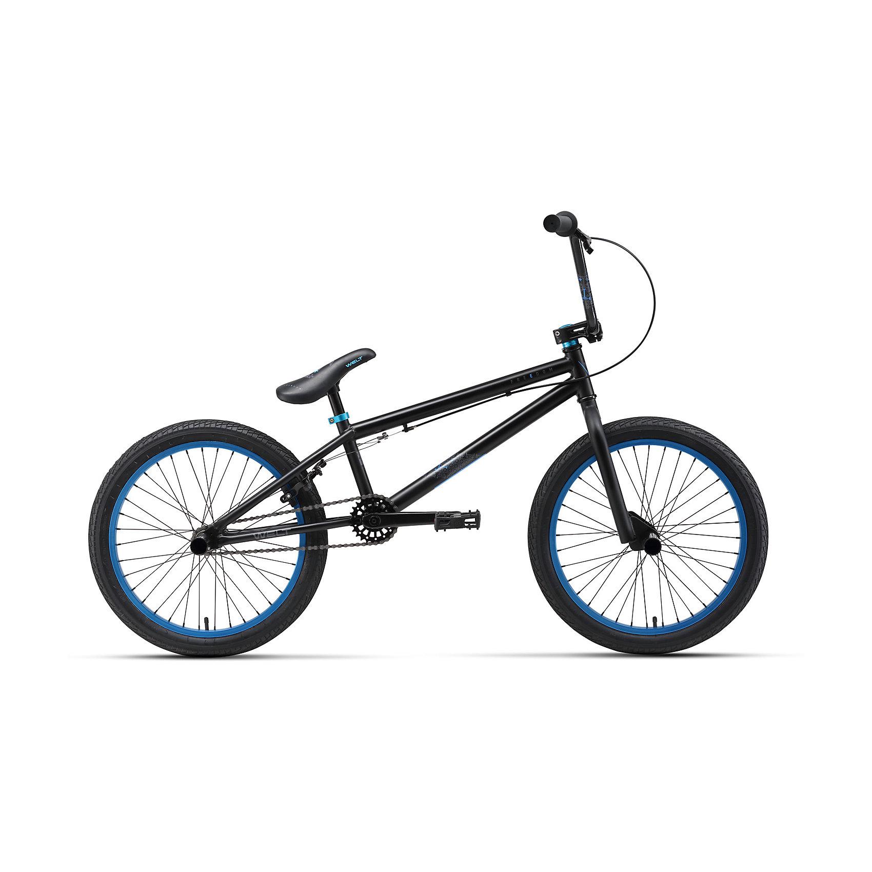 Велосипед  BMX Freedom, черно-синий, WeltВелосипеды детские<br>Характеристики товара:<br><br>• цвет: черный, синий<br>• возраст: от 6 лет<br>• рама: Cr-Mo / Steel<br>• размер рамы, дюймы: Steel<br>• диаметр колес: 20<br>• кол-во скоростей: 1<br>• тип вилки: жесткая <br>• вилка: Rigid steel<br>• тип тормозов: U-brake<br>• тормоза: Apse U25D rear <br>• система: 3 pcs 25T<br>• каретка: US type BB<br>• кассета: 14T integrated<br>• тип рулевой колонки: 1-1/8 безрезьбовая<br>• вынос: Promax alloy A-head 55mm<br>• руль: 710x202mm steel<br>• ободья: Dino alloy <br>• покрышки: Wanda J-1023 20x2,125<br>• втулки: KT Quando 36H<br>• подседельный штырь: steel one bolt type<br>• цепь: KMC Z-410<br>• вес 17,3 кг<br>• страна бренда: Германия<br><br>Велосипед ВМХ начального уровня с продуманной геометрией, 3-х компонентными шатунами и комплектующими. Идеальный вариант первого велосипеда для обучения техническим элементам, рама которого в будущем послужит хорошей базой для апгрейда. <br><br>Подходит для катания начиная с 6-летнего возраста. В комплект входят 2 пеги, которые устанавливаются на левую или правую сторону велосипеда в зависимости от того, какой стороной райдер будет запрыгивать на грани и рейлы. <br><br>Также велосипед оснащен широкими алюминиевыми педалями топталками. Велосипед оборудован задним ободным тормозом. Обратите внимание, что в современных ВМХ велосипедах для фристайла гиророторы для проводки тормозных тросов не используются.<br><br>Велосипед  BMX Freedom, черно-синий, Welt можно купить в нашем интернет-магазине.<br><br>Ширина мм: 1450<br>Глубина мм: 200<br>Высота мм: 800<br>Вес г: 16500<br>Возраст от месяцев: 48<br>Возраст до месяцев: 2147483647<br>Пол: Унисекс<br>Возраст: Детский<br>SKU: 5569420