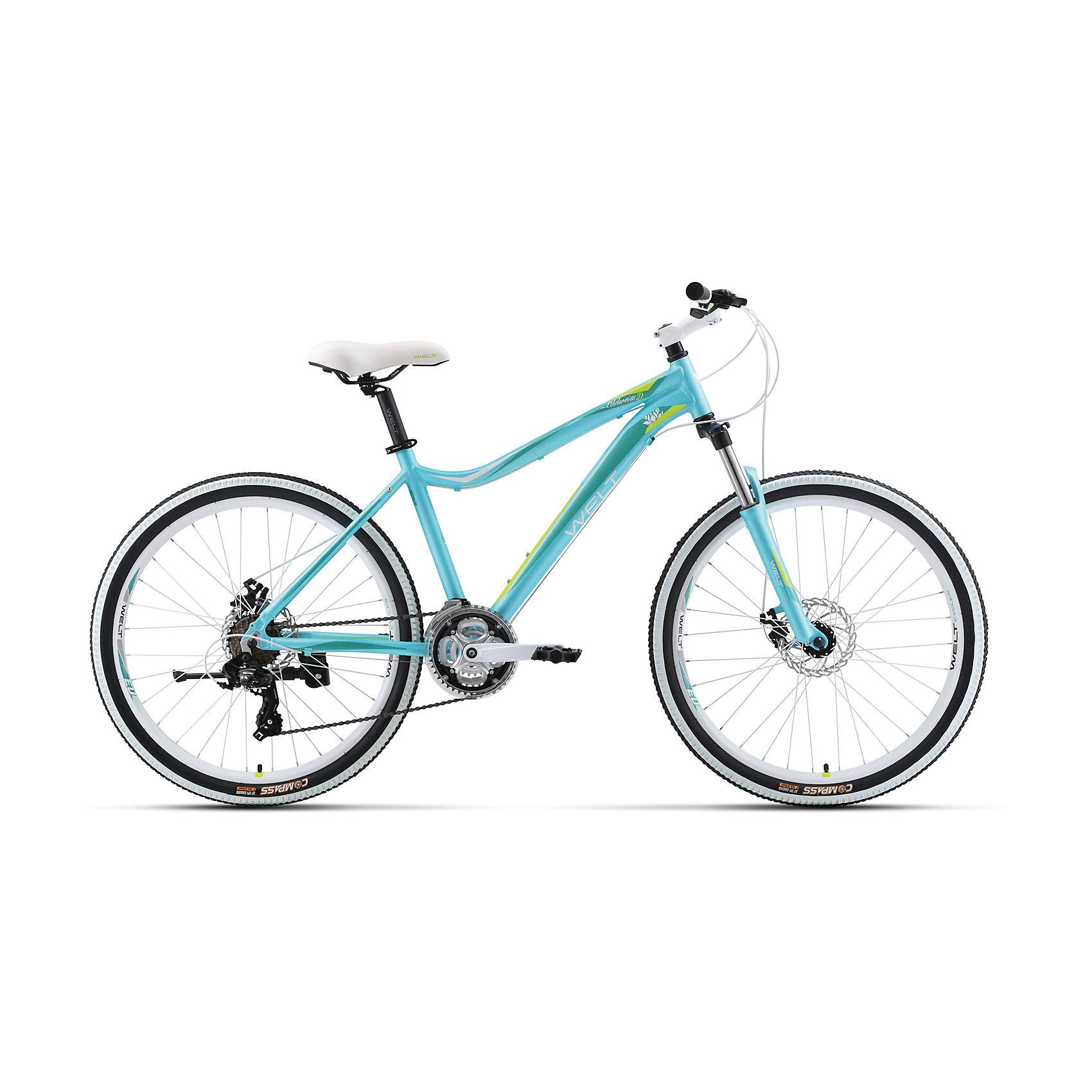 Велосипед  Edelweiss 1.0 D, 17 дюймов, голубо-зеленый, WeltВелосипеды детские<br>Характеристики товара:<br><br>• цвет: голубой, зеленый<br>• рама: Alloy 6061 <br>• размер рамы: 16,20<br>• диаметр колес: 26<br>• кол-во скоростей: 21<br>• тип вилки: амортизационная<br>• вилка: WELT MRK MLO 100mm<br>• переключатель задний : Shimano TY-300<br>• переключатель передний: Shimano TZ-30<br>• шифтеры: Shimano EF-51<br>• тип тормозов: дисковые механические<br>• тормоза: JAK-5<br>• система:  steel 42/34/24 <br>• кассета: Shimano HG20 12-28T<br>• тип рулевой колонки:  1-1/8 безрезьбовая<br>• покрышки: Compass 26 x 2,1 <br>• страна бренда: Германия <br><br>Велосипед  Edelweiss 1.0 D -это модель, которая создана  для кросс-кантри. Большие колеса, мягкая амортизация позволят преодолеть путь, проходящий по загородному бездорожью. <br><br>Велосипед  Edelweiss 1.0 D, 17 дюймов, голубо-зеленый, Welt можно купить в нашем интернет-магазине.<br><br>Ширина мм: 1450<br>Глубина мм: 200<br>Высота мм: 800<br>Вес г: 16500<br>Возраст от месяцев: 168<br>Возраст до месяцев: 2147483647<br>Пол: Унисекс<br>Возраст: Детский<br>SKU: 5569422