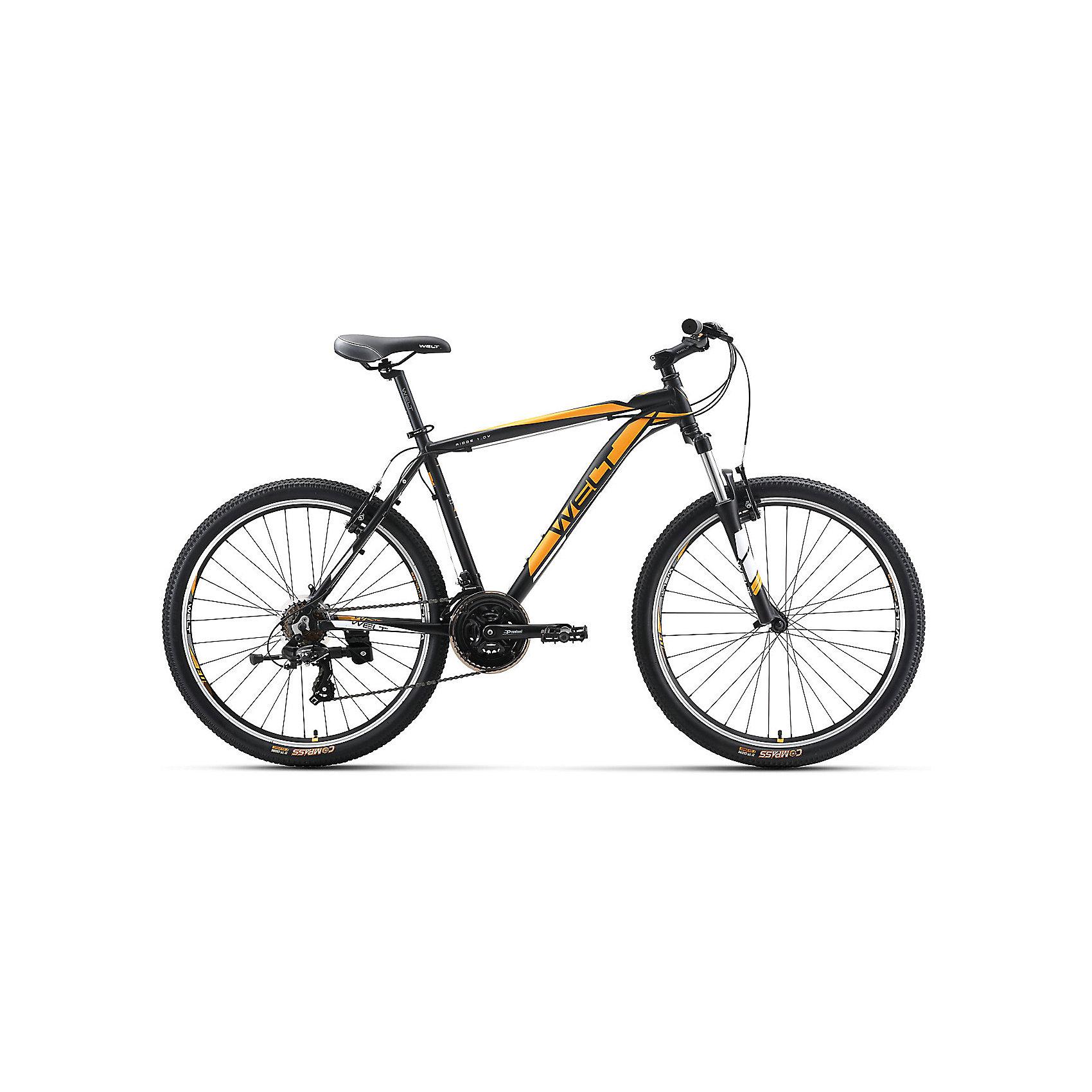Велосипед  Ridge 1.0 V, 18 дюймов, черно-оранжевый, WeltВелосипеды детские<br>Характеристики товара:<br><br>• цвет: черный, оранжевый<br>• возраст: от 6 лет<br>• механические тормоза<br>• цельнолитая контрукция вилки, ход 100мм<br>• подножка<br>• диаметр колес: 18<br>• кол-во скоростей: 21<br>• вилка: Suntour XCT HLO 100mm (амортизационная)<br>• переключатель задний : Shimano TY-300<br>• переключатель передний: Shimano TZ-30<br>• шифтеры: Shimano EF-51<br>• тип тормозов: V-brake<br>• тормоза: Alloy YX-122<br>• система:  Prowheel alloy 42/34/24 <br>• кассета: Shimano HG20 12-28T<br>• тип рулевой колонки:  1-1/8 безрезьбовая<br>• покрышки: Compass 26 x 2,1<br>• страна бренда: Германия<br><br>Велосипед  Ridge 1.0 V, рама которого выполнена из алюминиевого сплава. Колеса на двойных ободах. Отличают эту модель от остальных дисковые тормоза, более технологичные по сравнению с ободными. <br><br>Этот универсальный велосипед можно эксплуатировать в городе или за его пределами.<br><br>Велосипед  Ridge 1.0 V, 18 дюймов, черно-оранжевый, Welt можно купить в нашем интернет-магазине.<br><br>Ширина мм: 1450<br>Глубина мм: 200<br>Высота мм: 800<br>Вес г: 16500<br>Возраст от месяцев: 168<br>Возраст до месяцев: 2147483647<br>Пол: Унисекс<br>Возраст: Детский<br>SKU: 5569424