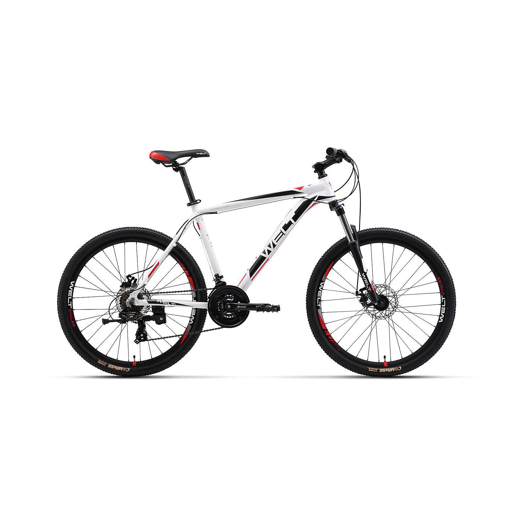 Велосипед  Ridge 1.0 D, 18 дюймов, бело-черный, WeltВелосипеды детские<br>Характеристики товара:<br><br>• цвет: белый, черный<br>• возраст: от 6 лет<br>• механические тормоза<br>• цельнолитая контрукция вилки, ход 100мм<br>• подножка<br>• диаметр колес: 18<br>• кол-во скоростей: 21<br>• вилка: Suntour XCT HLO 100mm (амортизационная)<br>• переключатель задний : Shimano TY-300<br>• переключатель передний: Shimano TZ-30<br>• шифтеры: Shimano EF-51<br>• тип тормозов: V-brake<br>• тормоза: Alloy YX-122<br>• система:  Prowheel alloy 42/34/24 <br>• кассета: Shimano HG20 12-28T<br>• тип рулевой колонки:  1-1/8 безрезьбовая<br>• покрышки: Compass 26 x 2,1<br>• страна бренда: Германия<br><br>Велосипед  Ridge 1.0 V, рама которого выполнена из алюминиевого сплава. Колеса на двойных ободах. Отличают эту модель от остальных дисковые тормоза, более технологичные по сравнению с ободными. <br><br>Этот универсальный велосипед можно эксплуатировать в городе или за его пределами.<br><br>Велосипед  Ridge 1.0 V, 18 дюймов, бело-черный, Welt можно купить в нашем интернет-магазине.<br><br>Ширина мм: 1450<br>Глубина мм: 200<br>Высота мм: 800<br>Вес г: 16500<br>Возраст от месяцев: 168<br>Возраст до месяцев: 2147483647<br>Пол: Унисекс<br>Возраст: Детский<br>SKU: 5569426