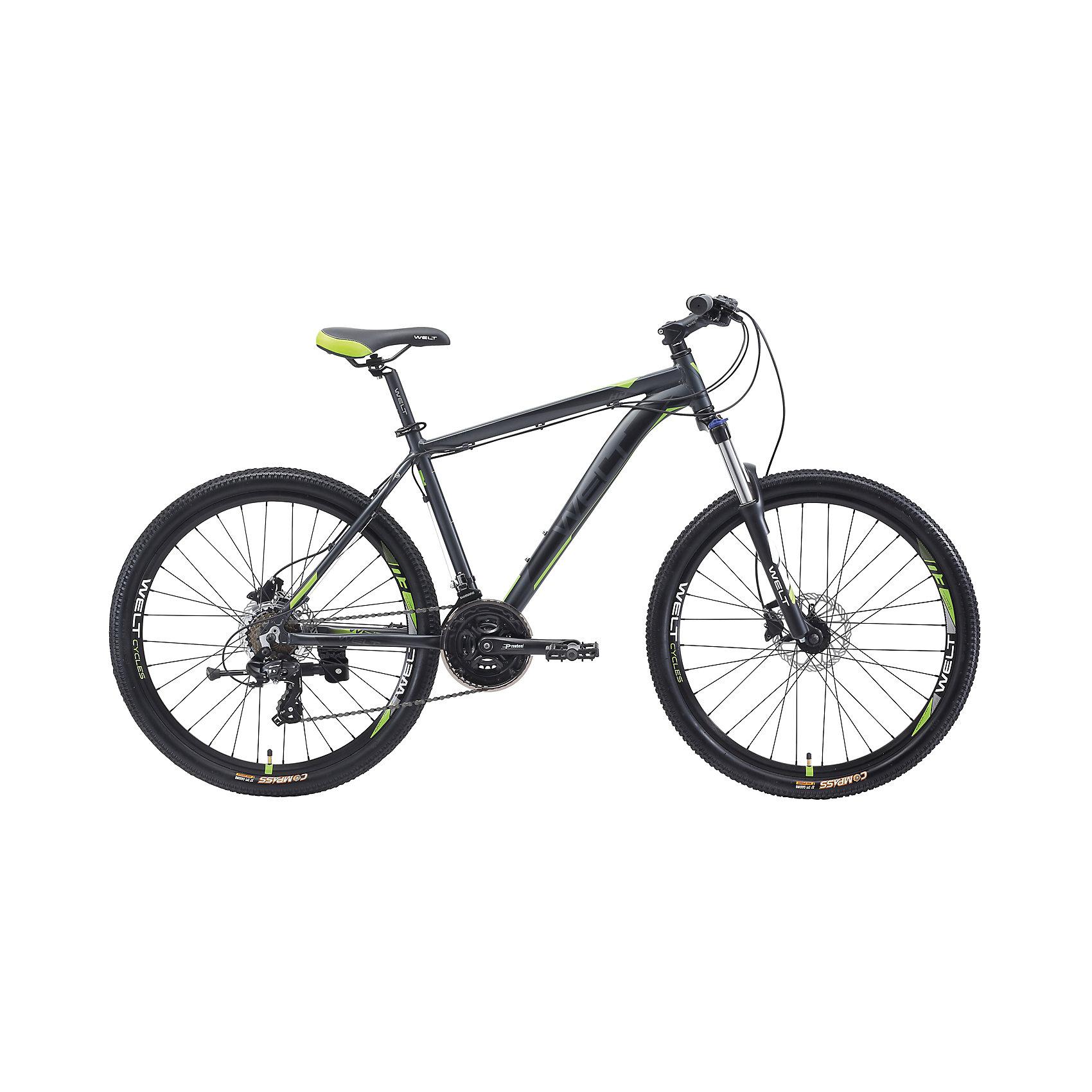 Велосипед  Ridge 1.0 HD, 18 дюймов, серо-зеленый, WeltВелосипеды детские<br>Характеристики товара:<br><br>• цвет: серый, зеленый<br>• возраст: от 6 лет<br>• механические тормоза<br>• цельнолитая контрукция вилки, ход 100мм<br>• подножка<br>• диаметр колес: 18<br>• кол-во скоростей: 21<br>• вилка: Suntour XCT HLO 100mm (амортизационная)<br>• переключатель задний : Shimano TY-300<br>• переключатель передний: Shimano TZ-30<br>• шифтеры: Shimano EF-51<br>• тип тормозов: V-brake<br>• тормоза: Alloy YX-122<br>• система:  Prowheel alloy 42/34/24 <br>• кассета: Shimano HG20 12-28T<br>• тип рулевой колонки:  1-1/8 безрезьбовая<br>• покрышки: Compass 26 x 2,1<br>• страна бренда: Германия<br><br>Велосипед  Ridge 1.0 V, рама которого выполнена из алюминиевого сплава. Колеса на двойных ободах. Отличают эту модель от остальных дисковые тормоза, более технологичные по сравнению с ободными. <br><br>Этот универсальный велосипед можно эксплуатировать в городе или за его пределами.<br><br>Велосипед  Ridge 1.0 V, 18 дюймов, серо-зеленый Welt можно купить в нашем интернет-магазине.<br><br>Ширина мм: 1450<br>Глубина мм: 200<br>Высота мм: 800<br>Вес г: 16500<br>Возраст от месяцев: 168<br>Возраст до месяцев: 2147483647<br>Пол: Унисекс<br>Возраст: Детский<br>SKU: 5569428