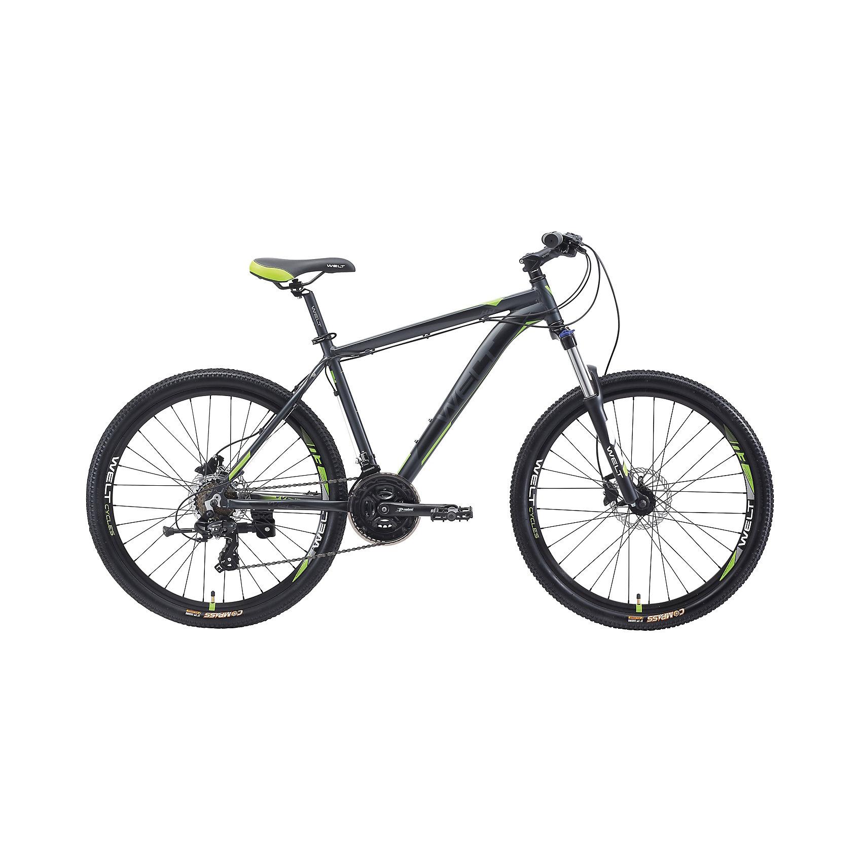 Велосипед  Ridge 1.0 HD, 20 дюймов, серо-зеленый, WeltВелосипеды детские<br>Характеристики товара:<br><br>• цвет: серый, зеленый<br>• возраст: от 8 лет<br>• механические тормоза<br>• цельнолитая контрукция вилки, ход 100мм<br>• подножка<br>• диаметр колес: 20<br>• кол-во скоростей: 21<br>• вилка: Suntour XCT HLO 100mm (амортизационная)<br>• переключатель задний : Shimano TY-300<br>• переключатель передний: Shimano TZ-30<br>• шифтеры: Shimano EF-51<br>• тип тормозов: V-brake<br>• тормоза: Alloy YX-122<br>• система:  Prowheel alloy 42/34/24 <br>• кассета: Shimano HG20 12-28T<br>• тип рулевой колонки:  1-1/8 безрезьбовая<br>• покрышки: Compass 26 x 2,1<br>• страна бренда: Германия<br><br>Велосипед  Ridge 1.0 V, рама которого выполнена из алюминиевого сплава. Колеса на двойных ободах. Отличают эту модель от остальных дисковые тормоза, более технологичные по сравнению с ободными. <br><br>Этот универсальный велосипед можно эксплуатировать в городе или за его пределами.<br><br>Велосипед  Ridge 1.0 V, 20 дюймов, серо-зеленый Welt можно купить в нашем интернет-магазине.<br><br>Ширина мм: 1450<br>Глубина мм: 200<br>Высота мм: 800<br>Вес г: 16500<br>Возраст от месяцев: 168<br>Возраст до месяцев: 2147483647<br>Пол: Унисекс<br>Возраст: Детский<br>SKU: 5569429