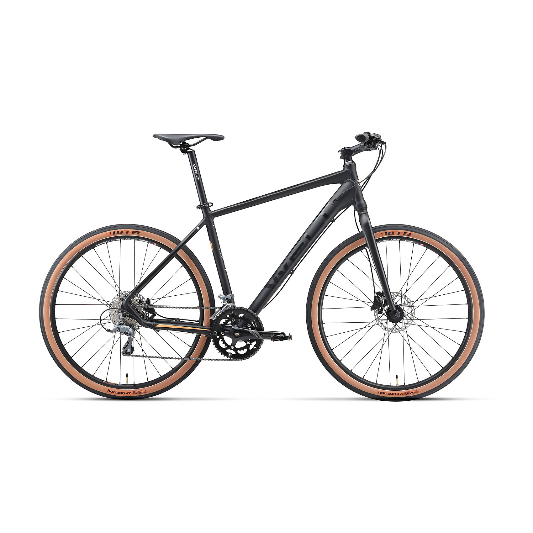 Велосипед  Horizon, черный, WeltВелосипеды детские<br>Характеристики товара:<br><br>• цвет: черный<br>• облегченнаяалюминиевая  рама с <br>• колеса с бескамерными ободами WTB и широкими бескамерными сликами WTB<br>• рама: Alloy 6061 27 Hybrid I<br>• размер рамы: 16,18,20<br>•диаметр колес: 27,5<br>• кол-во скоростей: 16<br>• тип вилки: жесткая<br>• вилка: rigid ES27 alloy, threadless, disc mount<br>• переключатель задний : Shimano Claris<br>• переключатель передний: Shimano Claris<br>• шифтеры: Shimano Claris 2x8<br>• тип тормозов: дисковые гидравлические<br>• тормоза: Shimano M-315<br>• система:  Prowheel Ounce-512C 50/34T <br>• кассета: Shimano HG 50-8 11-30T<br>• тип рулевой колонки:  semi-integrated 1-1/8*44<br>• покрышки: WTB Horizon 650B x 47C<br><br>Гибрид горного велосипеда и ситибайка 50/50 на колесах 27,5 дюймов для универсальности использования на технологичной и облегченной алюминиевой раме.<br><br>Оборудован жесткой алюминиевой вилкой, гидравлическими тормозами Shimano, 16 скоростной трансмиссией Shimano Claгis, колесами с бескамерными ободом WTB и широкими бескамерными сликами WTB. <br><br>Велосипед  Horizon, черный, Welt можно купить в нашем интернет-магазине.<br><br>Ширина мм: 1450<br>Глубина мм: 200<br>Высота мм: 800<br>Вес г: 16500<br>Возраст от месяцев: 168<br>Возраст до месяцев: 2147483647<br>Пол: Унисекс<br>Возраст: Детский<br>SKU: 5569431