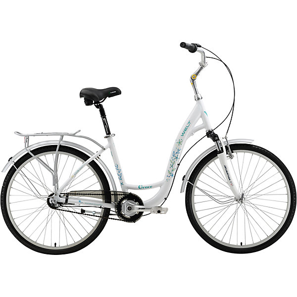Велосипед  Grace, 17 дюймов, белый, WeltВелосипеды детские<br>Характеристика товара:<br><br>• цвет: белый<br>• размер рамы, дюймы: 17<br>• диаметр колес: 26<br>• кол-во скоростей: 3<br>• тип вилки: амортизационная<br>• вилка: SR Suntour SF11-CR-7V 40mm<br>• задний переключатель: планетарный механизм<br>• шифтеры: Shimano Revo R 3spd<br>• тип тормозов: V-brake/ножной<br>• тормоза: Promax TX-117<br>• система: Prowheel PRO A-36 1spd<br>• каретка: sealed cartridge<br>• кассета: 20T<br>• тип рулевой колонки: 1-1/8 резьбовая<br>• вынос: Promax 105мм регулир.<br>• руль: alloy Ф25,4 570mm city<br>• ободья: alloy 6N<br>• покрышки: Kenda Khan 26x1,75<br>• втулки: Shimano Nexus<br>• подседельный штырь: Promax alloy с амортизацией<br>• цепь: KMC Z-410<br>• подножка: alloy, центральная<br>• крылья: полноразмерные<br>• вес: 16.5 кг<br><br>Комфортный и элегантный универсальный женский велосипед для поездок как в городе и парках, так и на природе.  <br><br>Алюминиевой рама изготовлена из облегченных труб алюминиевого сплава AL6061. <br><br>В комплект входят полноразмерные крылья, легкий алюминиевый задний багажник, удобная боковая подножка. <br><br>Полноценная защита цепи убережет одежду от попадания в детали трансмиссии.<br><br>Велосипед  Grace, 17 дюймов, белый, Welt можно купить в нашем интернет-магазине.<br>Ширина мм: 1450; Глубина мм: 200; Высота мм: 800; Вес г: 16500; Возраст от месяцев: 168; Возраст до месяцев: 2147483647; Пол: Унисекс; Возраст: Детский; SKU: 5569434;
