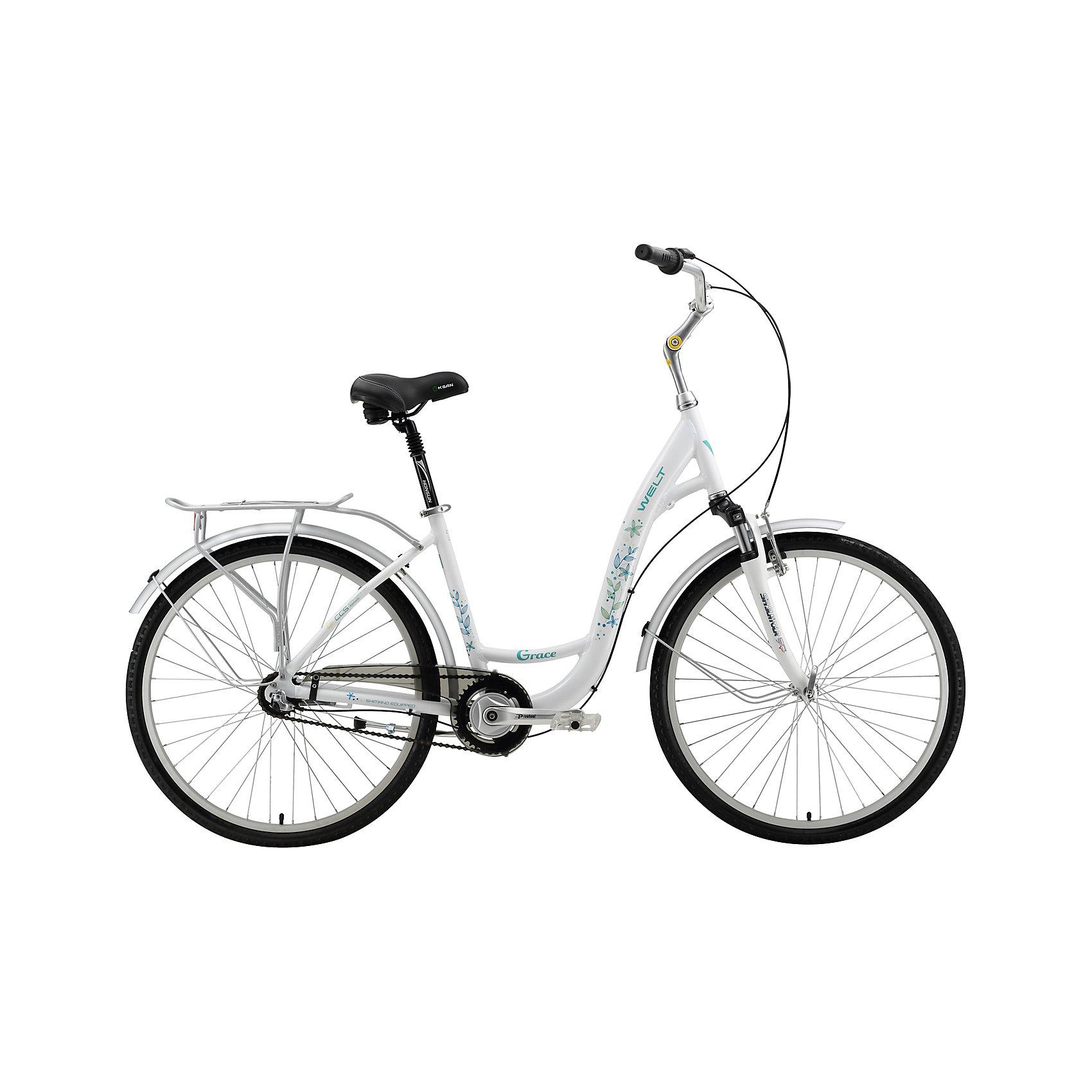 Велосипед  Grace, 17 дюймов, белый, WeltВелосипеды детские<br>Характеристика товара:<br><br>• цвет: белый<br>• размер рамы, дюймы: 17<br>• диаметр колес: 26<br>• кол-во скоростей: 3<br>• тип вилки: амортизационная<br>• вилка: SR Suntour SF11-CR-7V 40mm<br>• задний переключатель: планетарный механизм<br>• шифтеры: Shimano Revo R 3spd<br>• тип тормозов: V-brake/ножной<br>• тормоза: Promax TX-117<br>• система: Prowheel PRO A-36 1spd<br>• каретка: sealed cartridge<br>• кассета: 20T<br>• тип рулевой колонки: 1-1/8 резьбовая<br>• вынос: Promax 105мм регулир.<br>• руль: alloy Ф25,4 570mm city<br>• ободья: alloy 6N<br>• покрышки: Kenda Khan 26x1,75<br>• втулки: Shimano Nexus<br>• подседельный штырь: Promax alloy с амортизацией<br>• цепь: KMC Z-410<br>• подножка: alloy, центральная<br>• крылья: полноразмерные<br>• вес: 16.5 кг<br><br>Комфортный и элегантный универсальный женский велосипед для поездок как в городе и парках, так и на природе.  <br><br>Алюминиевой рама изготовлена из облегченных труб алюминиевого сплава AL6061. <br><br>В комплект входят полноразмерные крылья, легкий алюминиевый задний багажник, удобная боковая подножка. <br><br>Полноценная защита цепи убережет одежду от попадания в детали трансмиссии.<br><br>Велосипед  Grace, 17 дюймов, белый, Welt можно купить в нашем интернет-магазине.<br><br>Ширина мм: 1450<br>Глубина мм: 200<br>Высота мм: 800<br>Вес г: 16500<br>Возраст от месяцев: 168<br>Возраст до месяцев: 2147483647<br>Пол: Унисекс<br>Возраст: Детский<br>SKU: 5569434