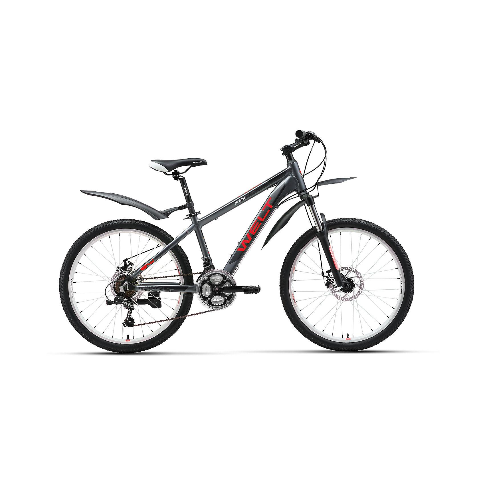Велосипед  Peak 24 Disc, черно-красный, WeltВелосипеды детские<br>Характеристики товара:<br><br>• цвет: черный<br>• механические дисковые тормоза спереди и сзади<br>• алюминиевая рама с трубами сложного профиля и полуинтегрированной рулевой колонкой<br>• подножка и крылья в комплекте <br>• рама: Alloy 6061 <br>• размер рамы: one size<br>• диаметр колес: 24<br>• кол-во скоростей: 21<br>• тип вилки: амортизационная<br>• вилка: WELT ES-443 Alloy 100mm<br>• переключатель задний : Shimano TY-21<br>• переключатель передний: Shimano TZ-30<br>• шифтеры: Shimano EF-51<br>• тип тормозов: дисковые механические<br>• тормоза: JAK-5<br>• система: 42/34/24 T 152mm <br>• кассета: FW-217B 14-28T<br>• тип рулевой колонки:  semi-integrated 1-1/8*44<br>• покрышки: Wanda P1197 24x1,95<br><br>Подростковый велосипед с передним дисковым механическим тормозом и взрослой комплектацией.<br><br>Это настоящий горный велосипед с колесами меньшего диаметра 24 дюйма на двойных ободах. Облегченная алюминиевая рама из труб сложного профиля надежна, технологична и безопасна. <br><br>Велосипед  Peak 24 Disc, черно-красный, Welt можно купить в нашем интернет-магазине.<br><br>Ширина мм: 1450<br>Глубина мм: 200<br>Высота мм: 800<br>Вес г: 16500<br>Возраст от месяцев: 108<br>Возраст до месяцев: 168<br>Пол: Унисекс<br>Возраст: Детский<br>SKU: 5569438