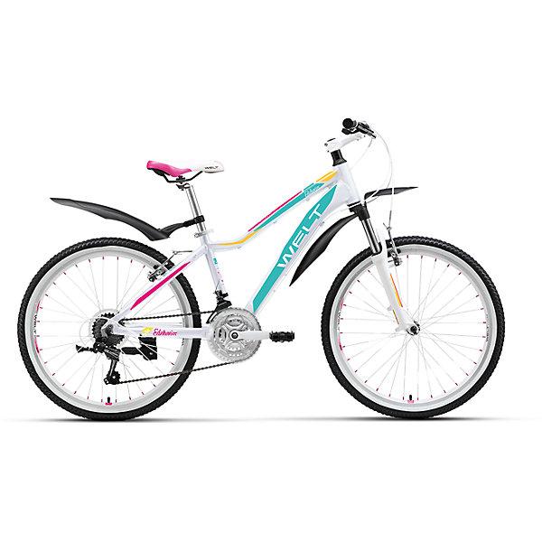Велосипед  Edelweiss 24, бело-фиолетовый, WeltВелосипеды детские<br>Характеристики товара:<br><br>• цвет: бело-фиолетовый<br>• облегченная алюминиевая рама из труб сложного профиля <br>• амортизационная вилка<br>• 21 скоротная трансмиссия Shimano Tourney <br>• подножка и крылья в комплекте<br>• рама Alloy 6061 <br>• диаметр колес 24 <br>• тип вилки: амортизационная (WELT ES-443 Alloy 100mm)<br>• пер. переключатель Shimano TZ-30 <br>• зад. переключатель Shimano TY-21 <br>• шифтеры Shimano EF-51 <br>• тип тормозов V-brake <br>• тормоза Power 132S <br>• система 42/34/24 T 152mm <br>• каретка sealed cartridge <br>• кассета FW-217B 14-28Т <br>• вынос alloy, A-Head, 80mm Руль alloy low rise Ф25,4 600mm <br>• ободья alloy, double wall <br>• покрышки Wanda Р1197 24х1,95 <br>• втулки YS w/QR <br>• подседельный штырь alloy Ф27,2 300mm <br>• цепь KMC Z33<br><br>Подростковая женская модель, которая не оставит равнодушными юных леди. В ней сочетаются спортивный стиль и дизайнерские элементы, ничем не уступающие взрослым моделям. <br><br>Современность, мода, комплектация, аналогичная базовым моделям взрослых горных велосипедов соединены здесь в единое целое. <br><br>Велосипед  Edelweiss 24, бело-фиолетовый, Welt можно купить в нашем интернет-магазине.<br>Ширина мм: 1450; Глубина мм: 200; Высота мм: 800; Вес г: 16500; Возраст от месяцев: 108; Возраст до месяцев: 168; Пол: Женский; Возраст: Детский; SKU: 5569441;