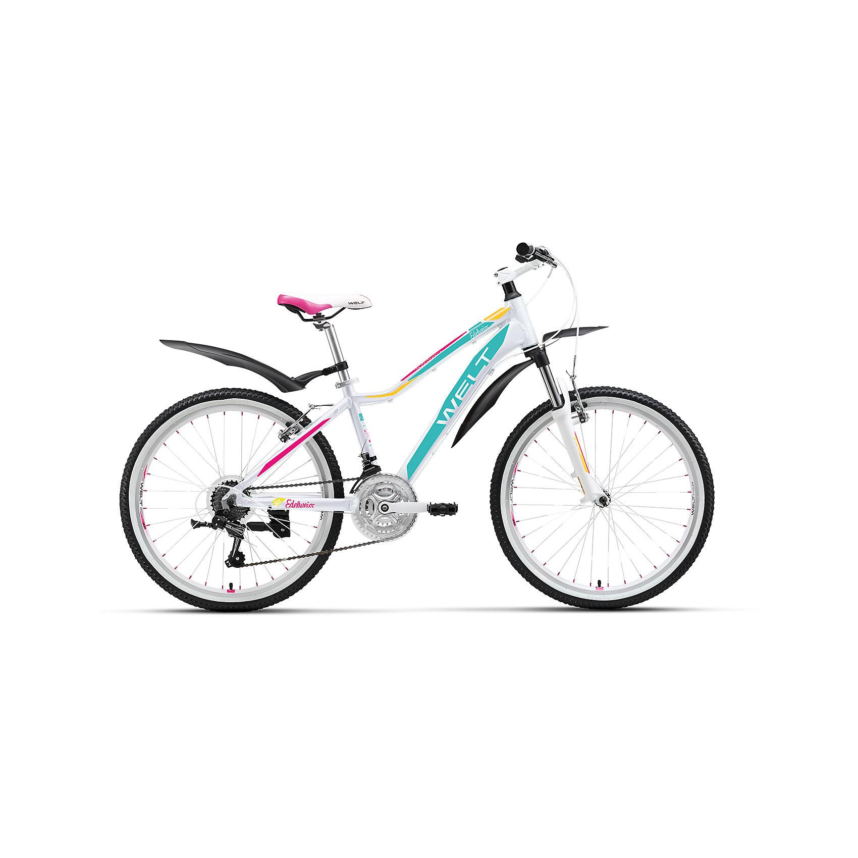 Велосипед  Edelweiss 24, бело-фиолетовый, WeltВелосипеды детские<br>Характеристики товара:<br><br>• цвет: бело-фиолетовый<br>• облегченная алюминиевая рама из труб сложного профиля <br>• амортизационная вилка<br>• 21 скоротная трансмиссия Shimano Tourney <br>• подножка и крылья в комплекте<br>• рама Alloy 6061 <br>• диаметр колес 24 <br>• тип вилки: амортизационная (WELT ES-443 Alloy 100mm)<br>• пер. переключатель Shimano TZ-30 <br>• зад. переключатель Shimano TY-21 <br>• шифтеры Shimano EF-51 <br>• тип тормозов V-brake <br>• тормоза Power 132S <br>• система 42/34/24 T 152mm <br>• каретка sealed cartridge <br>• кассета FW-217B 14-28Т <br>• вынос alloy, A-Head, 80mm Руль alloy low rise Ф25,4 600mm <br>• ободья alloy, double wall <br>• покрышки Wanda Р1197 24х1,95 <br>• втулки YS w/QR <br>• подседельный штырь alloy Ф27,2 300mm <br>• цепь KMC Z33<br><br>Подростковая женская модель, которая не оставит равнодушными юных леди. В ней сочетаются спортивный стиль и дизайнерские элементы, ничем не уступающие взрослым моделям. <br><br>Современность, мода, комплектация, аналогичная базовым моделям взрослых горных велосипедов соединены здесь в единое целое. <br><br>Велосипед  Edelweiss 24, бело-фиолетовый, Welt можно купить в нашем интернет-магазине.<br><br>Ширина мм: 1450<br>Глубина мм: 200<br>Высота мм: 800<br>Вес г: 16500<br>Возраст от месяцев: 108<br>Возраст до месяцев: 168<br>Пол: Женский<br>Возраст: Детский<br>SKU: 5569441
