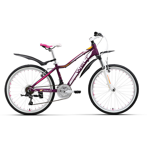 Велосипед  Edelweiss 24, фиолетово-белый, WeltВелосипеды детские<br>Характеристики товара:<br><br>• цвет: фиолетовый<br>• алюмиевая рама выпонена из облегченного сплава с применением современных технологий<br>• амортизационная вилка<br>• 21 скоротная трансмиссия Shimano Tourney обеспечат удобную и комфортную езду<br>• подножка и крылья в комплекте<br>• рама Alloy 6061 <br>• диаметр колес 24 <br>• тип вилки: амортизационная<br>• вилка WELT ES-443 Alloy 100mm <br>• пер. переключатель Shimano TZ-30 <br>• зад. переключатель Shimano TY-21 <br>• шифтеры Shimano EF-51 <br>• тип тормозов V-brake <br>• тормоза Power 132S <br>• система 42/34/24 T 152mm <br>• каретка sealed cartridge Кассета FW-217B 14-28Т <br>• вынос alloy, A-Head, 80mm <br>• руль alloy low rise Ф25,4 600mm <br>• ободья alloy, double wall <br>• покрышки Wanda Р1197 24х1,95 <br>• втулки YS w/QR <br>• подседельный штырь alloy Ф27,2 300mm <br>• цепь KMC Z33 <br>• аксессуары: подножка, крылья.<br><br>Подростковая женская модель, которая не оставит равнодушными юных леди. В ней сочетаются спортивный стиль и дизайнерские элементы, ничем не уступающие взрослым моделям. <br><br>Современность, мода, комплектация, аналогичная базовым моделям взрослых горных велосипедов соединены здесь в единое целое.<br><br>Велосипед Edelweiss 24, фиолетово-белый, Welt можно купить в нашем интернет-магазине.<br>Ширина мм: 1450; Глубина мм: 200; Высота мм: 800; Вес г: 16500; Возраст от месяцев: 108; Возраст до месяцев: 168; Пол: Женский; Возраст: Детский; SKU: 5569442;