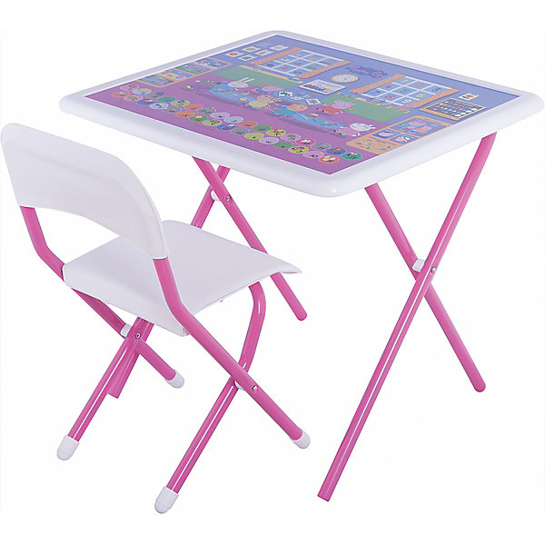 Набор складной мебели Свинка Пеппа, ДэмиДетские столы и стулья<br>Набор складной мебели Свинка Пеппа, Дэми.<br><br>Характеристики:<br><br>• Для детей в возрасте: от 3 до 7 лет<br>• В комплекте: складной стол и стульчик<br>• Материал: прочный пластик, металл, ЛДСП<br>• Цвет: белый, розовый<br>• Размер столешницы: 65х56 см.<br>• Высота стола: 58 см.<br>• Вес: 7 кг.<br><br>Комплект складной мебели 3 ростовой группы (для детей 3-7 лет) прекрасно впишется в интерьер любой детской. Стол, фактически, представляет собой 3 в 1: можно играть, можно есть, можно обучаться! На поверхность столешницы нанесены обучающие рисунки и любимые персонажи мультсериала Свинка Пеппа, а по периметру размещен безопасный бампер. Ваш ребенок выучит алфавит и цифры от 1 до 9, научится решать простые примеры, познакомится с цветами, временами года. Все материалы, используемые при изготовлении набора, соответствуют ГОСТам, и абсолютно безопасны для здоровья Вашего малыша. Рабочая поверхность стола, сиденье и спинка стула сделаны из прочной пластмассы, края закруглены. Устойчивые металлические ножки имеют пластмассовые заглушки. Кроме этого, за мебелью очень легко ухаживать. Вы сможете приучать ребенка к порядку с самых ранних лет. Детям наверняка очень понравится этот комплект - настоящий детский рабочий кабинет, а родители, несомненно, оценят его компактность.<br><br>Набор складной мебели Свинка Пеппа, Дэми можно купить в нашем интернет-магазине.<br>Ширина мм: 770; Глубина мм: 740; Высота мм: 140; Вес г: 8000; Возраст от месяцев: 36; Возраст до месяцев: 84; Пол: Унисекс; Возраст: Детский; SKU: 5569670;