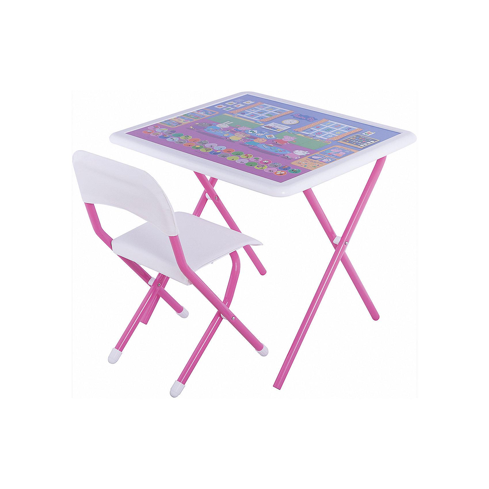Набор складной мебели Свинка Пеппа, ДэмиДетские столы и стулья<br>Набор складной мебели Свинка Пеппа, Дэми.<br><br>Характеристики:<br><br>• Для детей в возрасте: от 3 до 7 лет<br>• В комплекте: складной стол и стульчик<br>• Материал: прочный пластик, металл, ЛДСП<br>• Цвет: белый, розовый<br>• Размер столешницы: 65х56 см.<br>• Высота стола: 58 см.<br>• Вес: 7 кг.<br><br>Комплект складной мебели 3 ростовой группы (для детей 3-7 лет) прекрасно впишется в интерьер любой детской. Стол, фактически, представляет собой 3 в 1: можно играть, можно есть, можно обучаться! На поверхность столешницы нанесены обучающие рисунки и любимые персонажи мультсериала Свинка Пеппа, а по периметру размещен безопасный бампер. Ваш ребенок выучит алфавит и цифры от 1 до 9, научится решать простые примеры, познакомится с цветами, временами года. Все материалы, используемые при изготовлении набора, соответствуют ГОСТам, и абсолютно безопасны для здоровья Вашего малыша. Рабочая поверхность стола, сиденье и спинка стула сделаны из прочной пластмассы, края закруглены. Устойчивые металлические ножки имеют пластмассовые заглушки. Кроме этого, за мебелью очень легко ухаживать. Вы сможете приучать ребенка к порядку с самых ранних лет. Детям наверняка очень понравится этот комплект - настоящий детский рабочий кабинет, а родители, несомненно, оценят его компактность.<br><br>Набор складной мебели Свинка Пеппа, Дэми можно купить в нашем интернет-магазине.<br><br>Ширина мм: 770<br>Глубина мм: 740<br>Высота мм: 140<br>Вес г: 8000<br>Возраст от месяцев: 36<br>Возраст до месяцев: 84<br>Пол: Унисекс<br>Возраст: Детский<br>SKU: 5569670