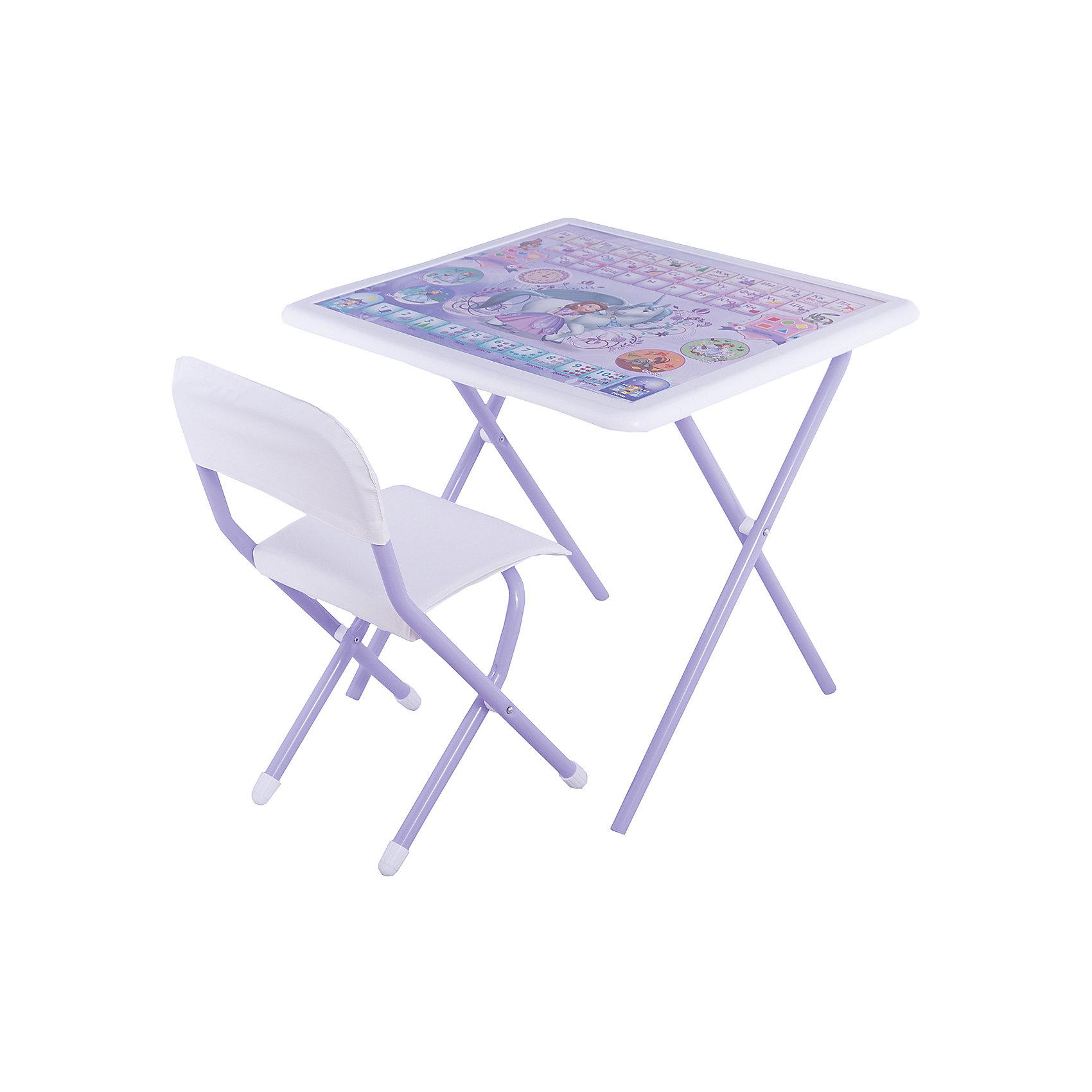Набор складной мебели София прекрасная, ДэмиМебель<br>Набор складной мебели София прекрасная, Дэми.<br><br>Характеристики:<br><br>• Для детей в возрасте: от 3 до 7 лет<br>• В комплекте: складной стол и стульчик<br>• Материал: прочный пластик, металл, ЛДСП<br>• Размер столешницы: 65х56 см.<br>• Высота стола: 58 см.<br>• Вес: 7 кг.<br><br>Комплект складной мебели 3 ростовой группы (для детей 3-7 лет) прекрасно впишется в интерьер любой детской. Стол, фактически, представляет собой 3 в 1: можно играть, можно есть, можно обучаться! На поверхность столешницы нанесены обучающие рисунки и любимые персонажи мультсериала София прекрасная, а по периметру размещен безопасный бампер. Ваш ребенок выучит алфавит и цифры от 1 до 10, познакомится с цветами, геометрическими фигурами, временами года и суток. Все материалы, используемые при изготовлении набора, соответствуют ГОСТам, и абсолютно безопасны для здоровья Вашего малыша. Рабочая поверхность стола, сиденье и спинка стула сделаны из прочной пластмассы, края закруглены. Устойчивые металлические ножки имеют пластмассовые заглушки. Кроме этого, за мебелью очень легко ухаживать. Вы сможете приучать ребенка к порядку с самых ранних лет. Детям наверняка очень понравится этот комплект - настоящий детский рабочий кабинет, а родители, несомненно, оценят его компактность.<br><br>Набор складной мебели София прекрасная, Дэми можно купить в нашем интернет-магазине.<br><br>Ширина мм: 770<br>Глубина мм: 740<br>Высота мм: 140<br>Вес г: 8000<br>Возраст от месяцев: 36<br>Возраст до месяцев: 84<br>Пол: Унисекс<br>Возраст: Детский<br>SKU: 5569671